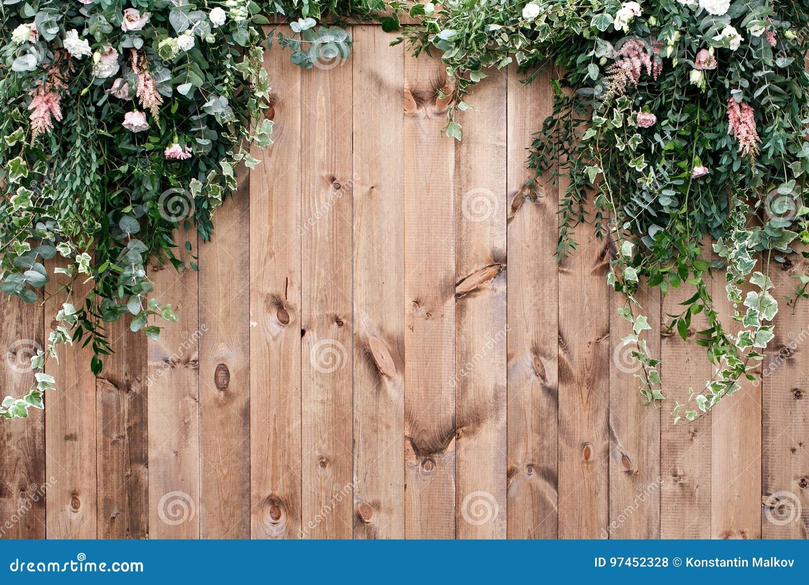 A mola fresca esverdeia com a planta da flor branca e da folha sobre o fundo de madeira da cerca
