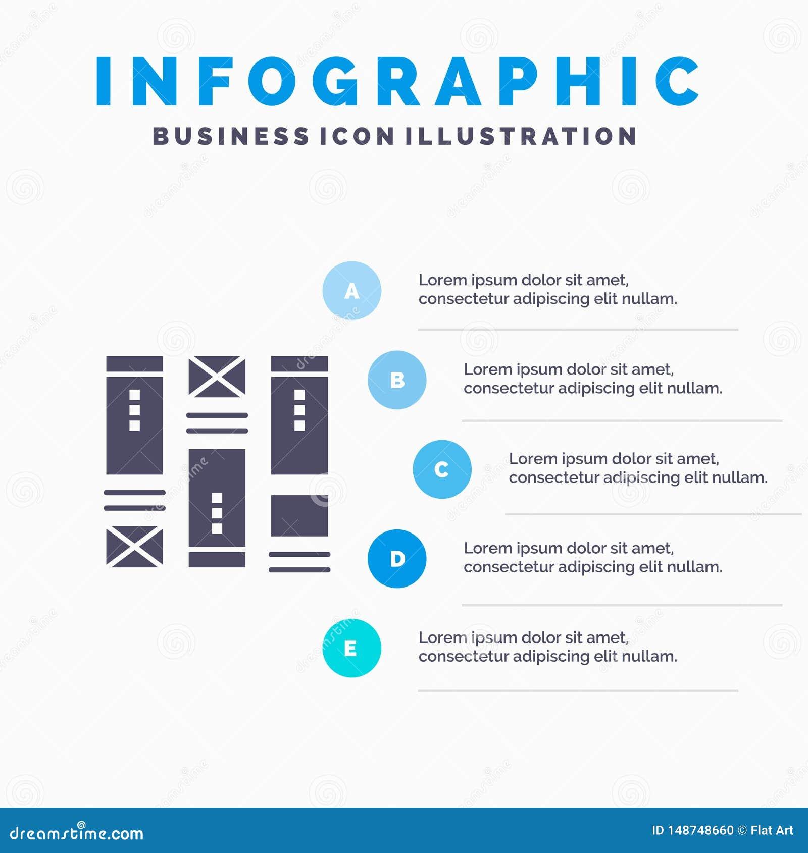Moldação do fio, esboçando, Wireframe, molde da apresentação de Infographics da ideia Apresentação de 5 etapas