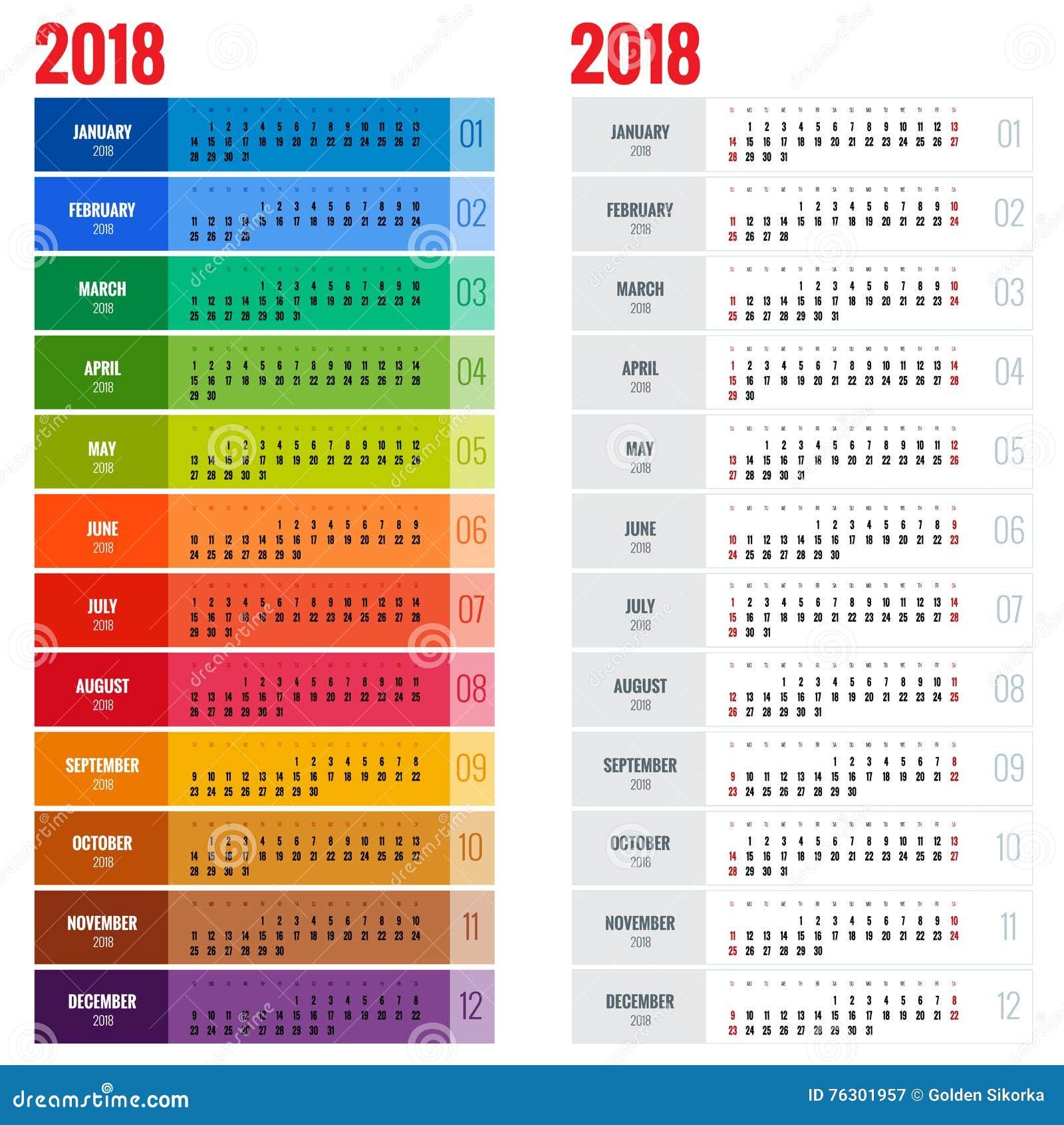 Molde anual do planejador do calendário de parede por 2018 anos Molde da cópia do projeto do vetor A semana começa domingo