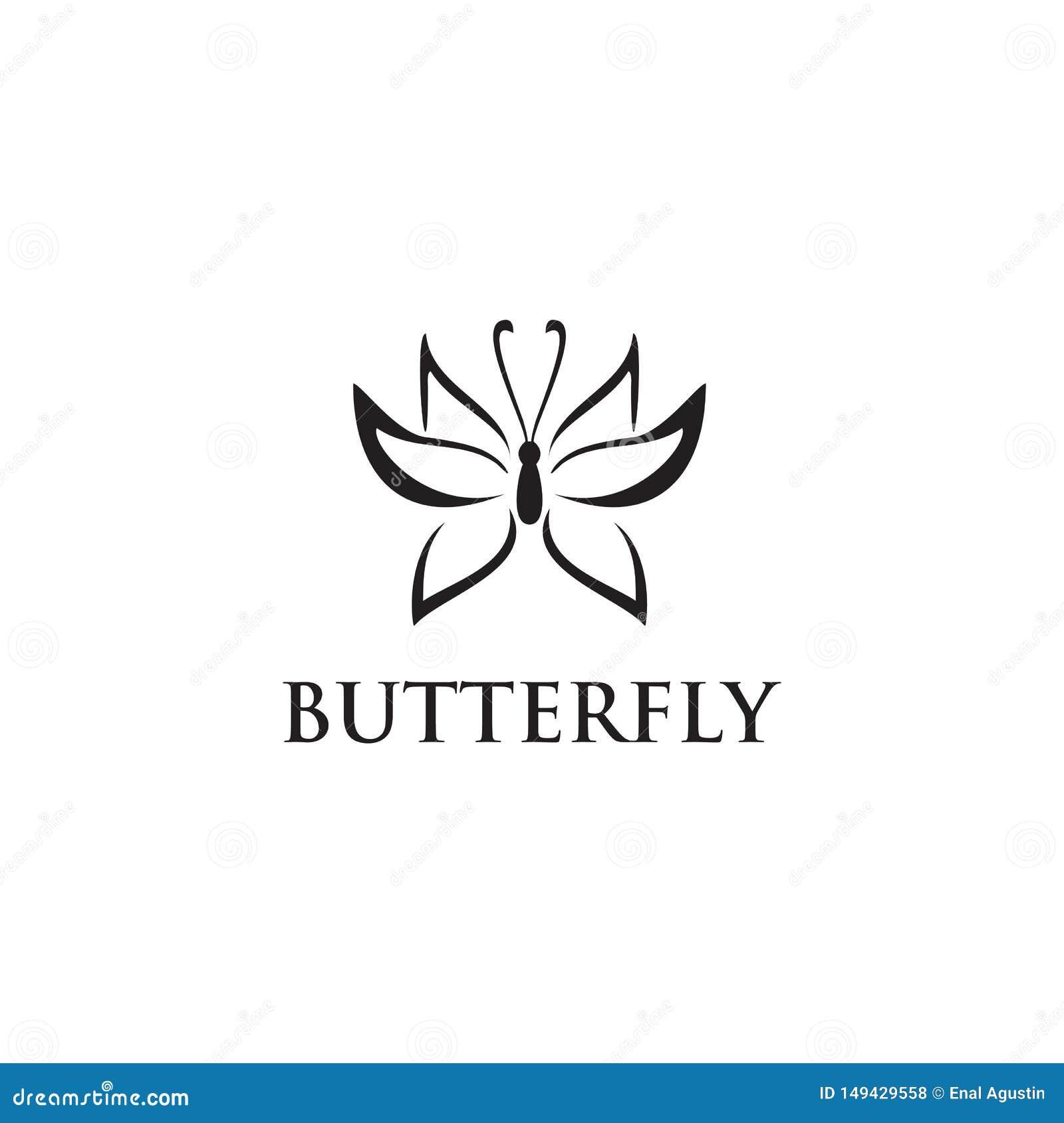 Molde bonito abstrato do vetor do projeto do logotipo do ícone da borboleta