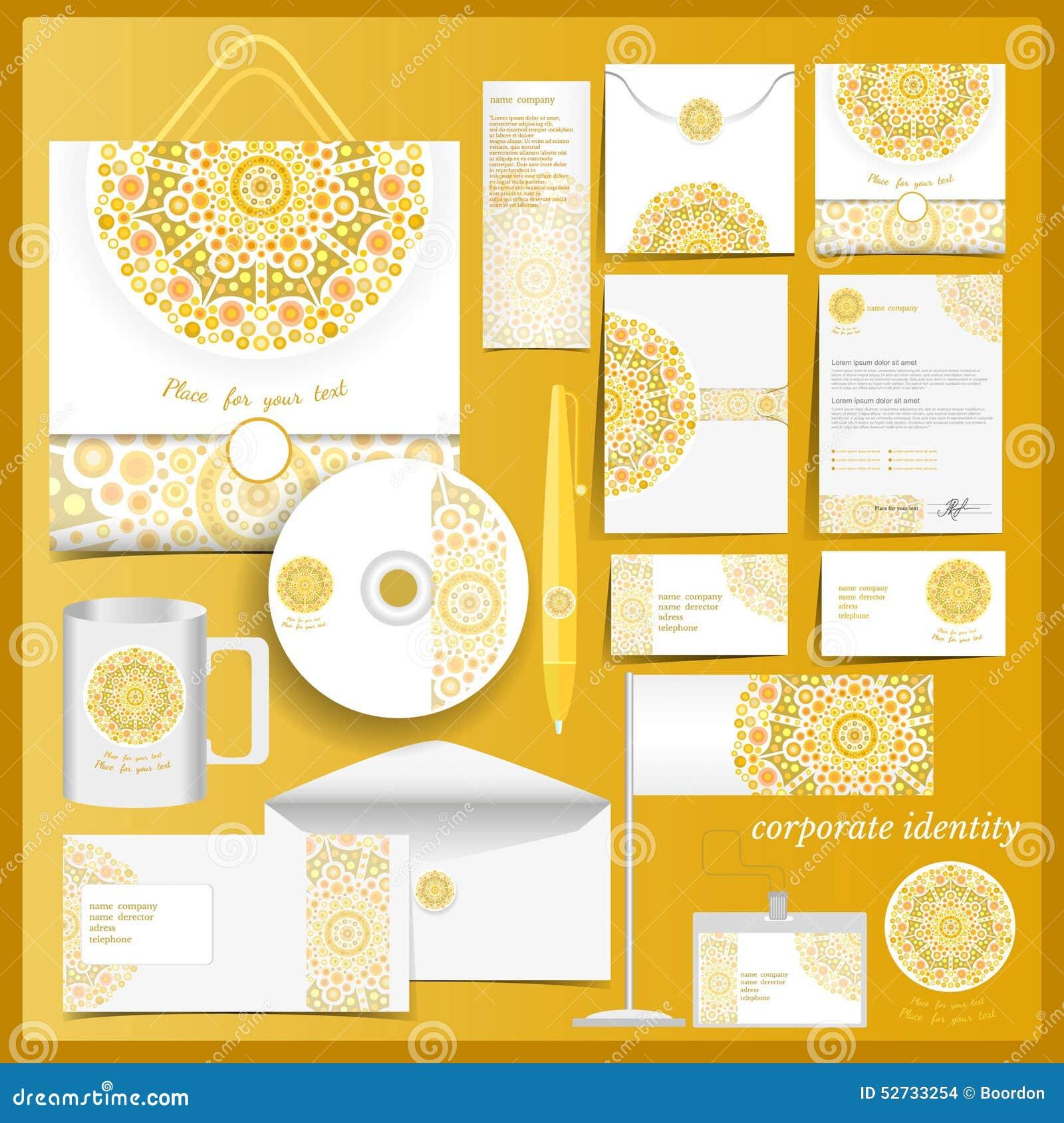 Molde branco da identidade corporativa com elementos do mosaico amarelo