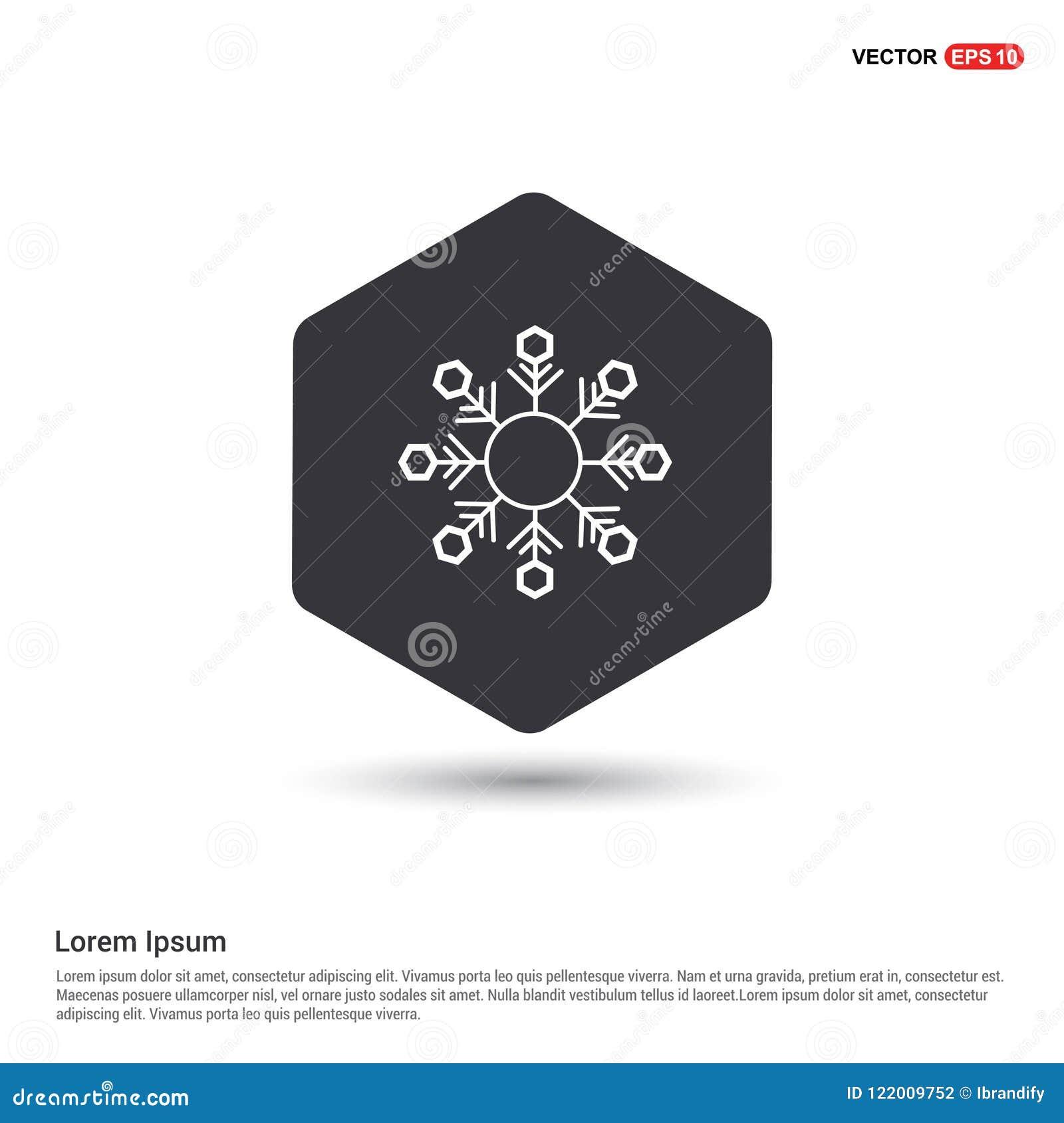 Molde branco Hexa do ícone do fundo do ícone do floco da neve