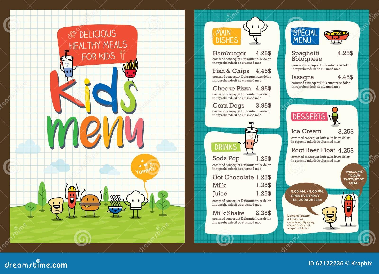 Molde colorido bonito do menu da refeição das crianças
