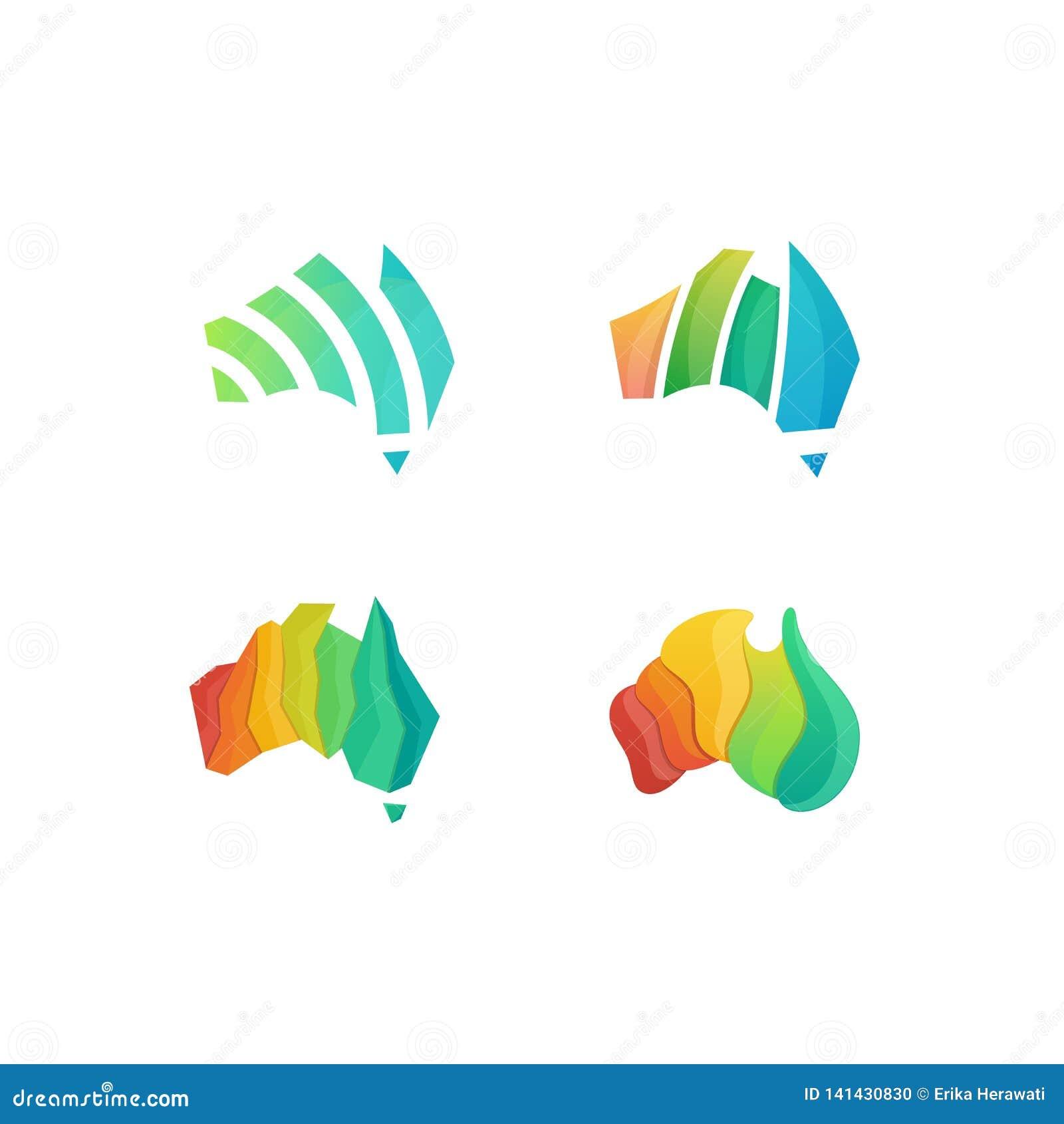 Molde colorido do projeto do vetor da ilustração do conceito de Austrália do sumário