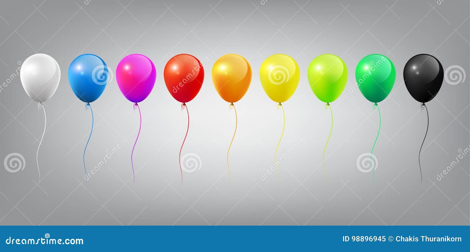 Molde colorido lustroso realístico de voo dos balões com conceito do partido e da celebração no fundo branco