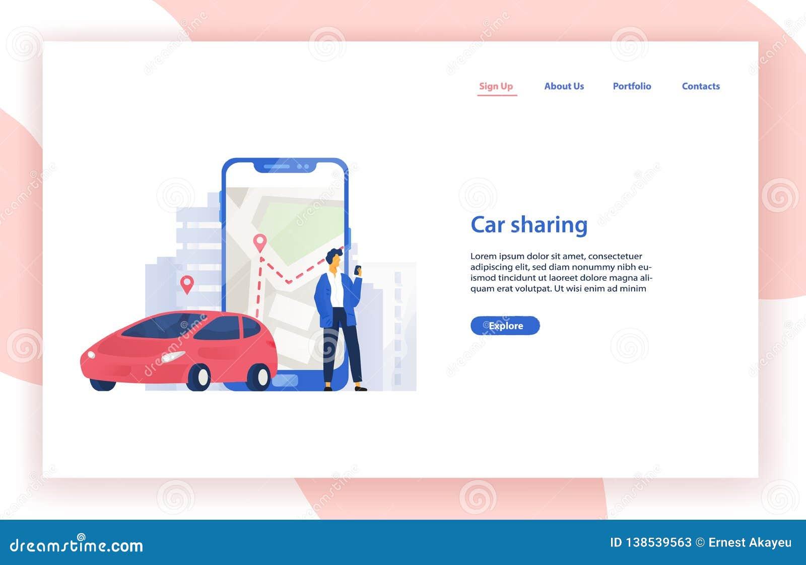 Molde com automóvel, posição do Web site do serviço da partilha de carro do homem ao lado do smartphone gigante com o mapa da cid