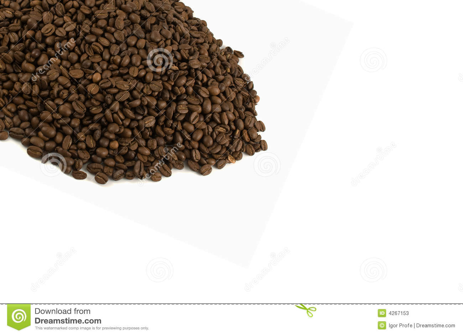 Molde com os feijões de café isolados