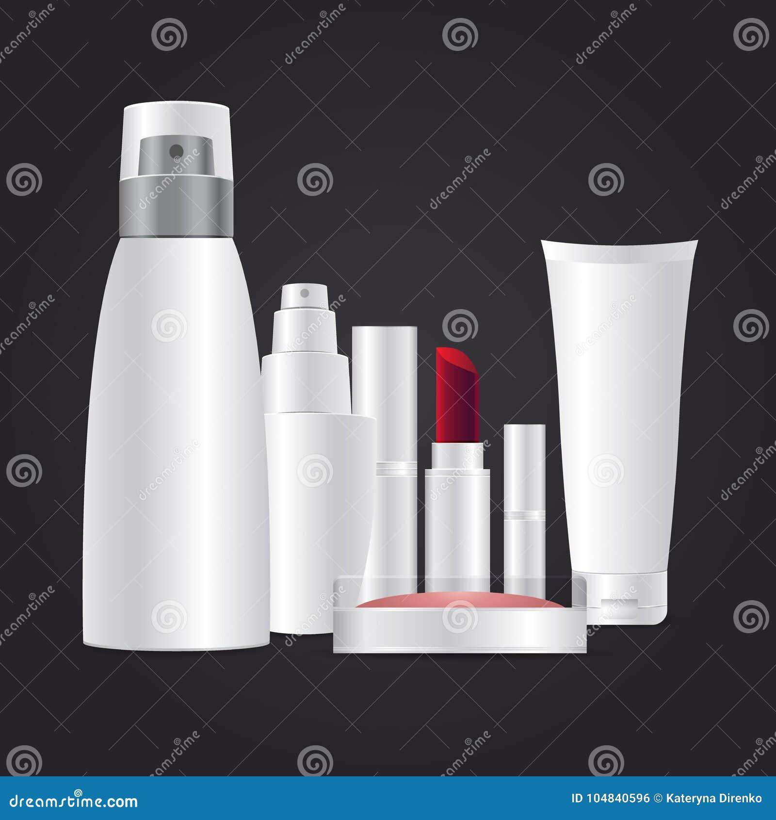 Molde cosmético do tipo pacote 3d cosmético realístico branco na ilustração cinzenta escura do vetor do fundo
