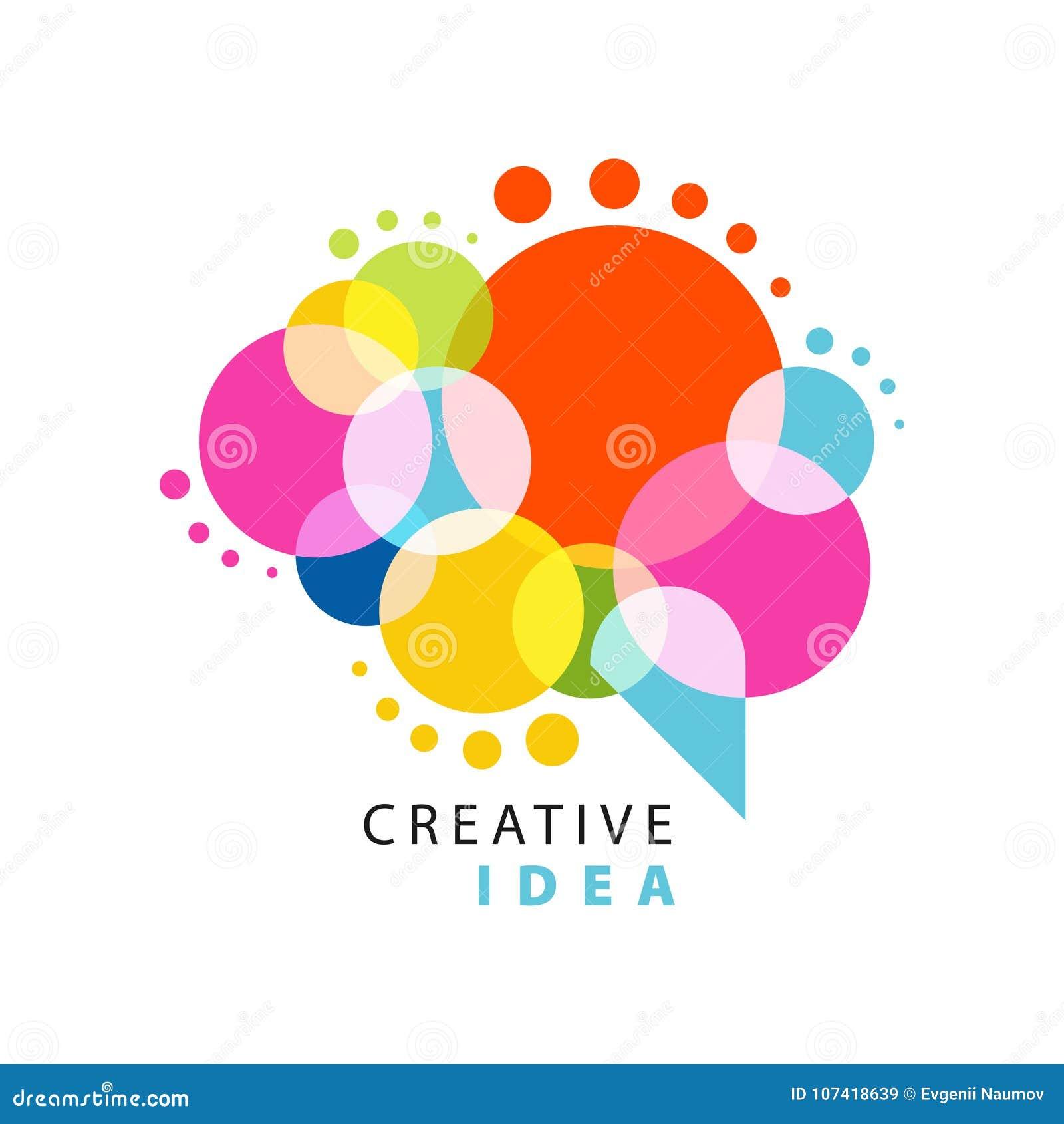 Molde criativo do logotipo da ideia com bolha colorida abstrata do discurso Negócio educacional, etiqueta do centro de desenvolvi