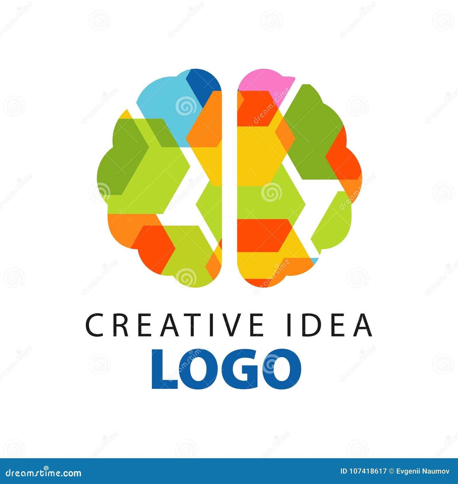 Molde criativo do logotipo da ideia com opinião superior do cérebro liso colorido abstrato Negócio de educação ou etiqueta center