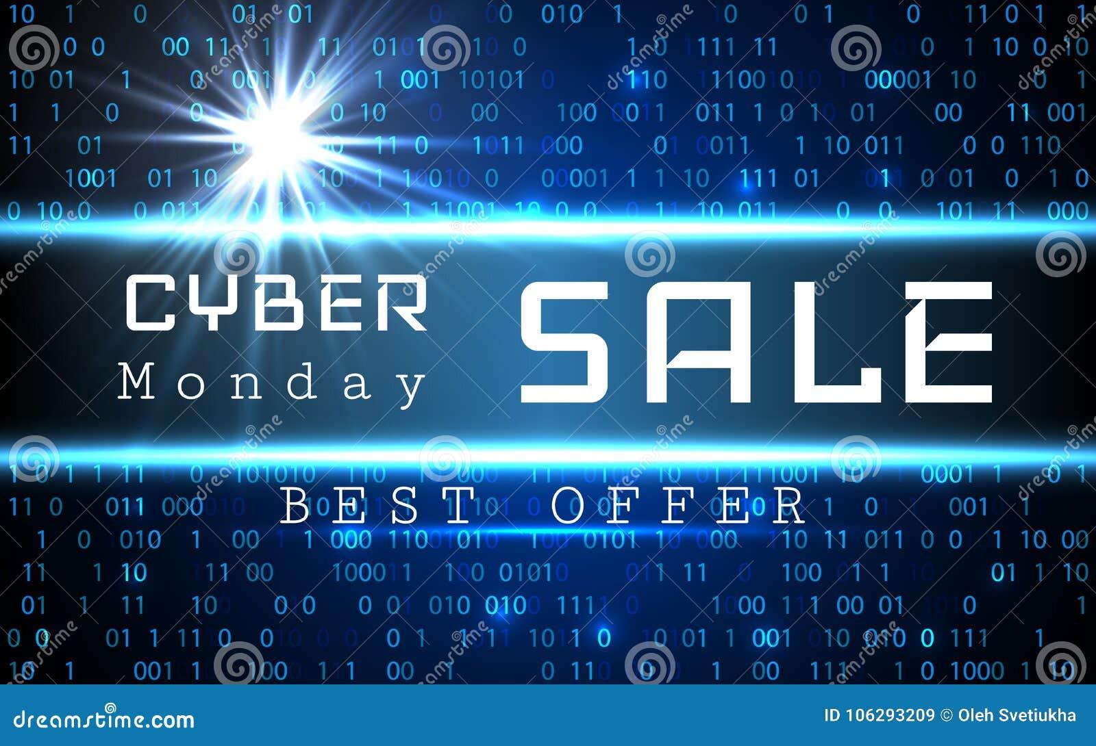 Molde da bandeira do vetor da venda de segunda-feira do Cyber O azul que brilham o fundo do código binário com setas e a amostra