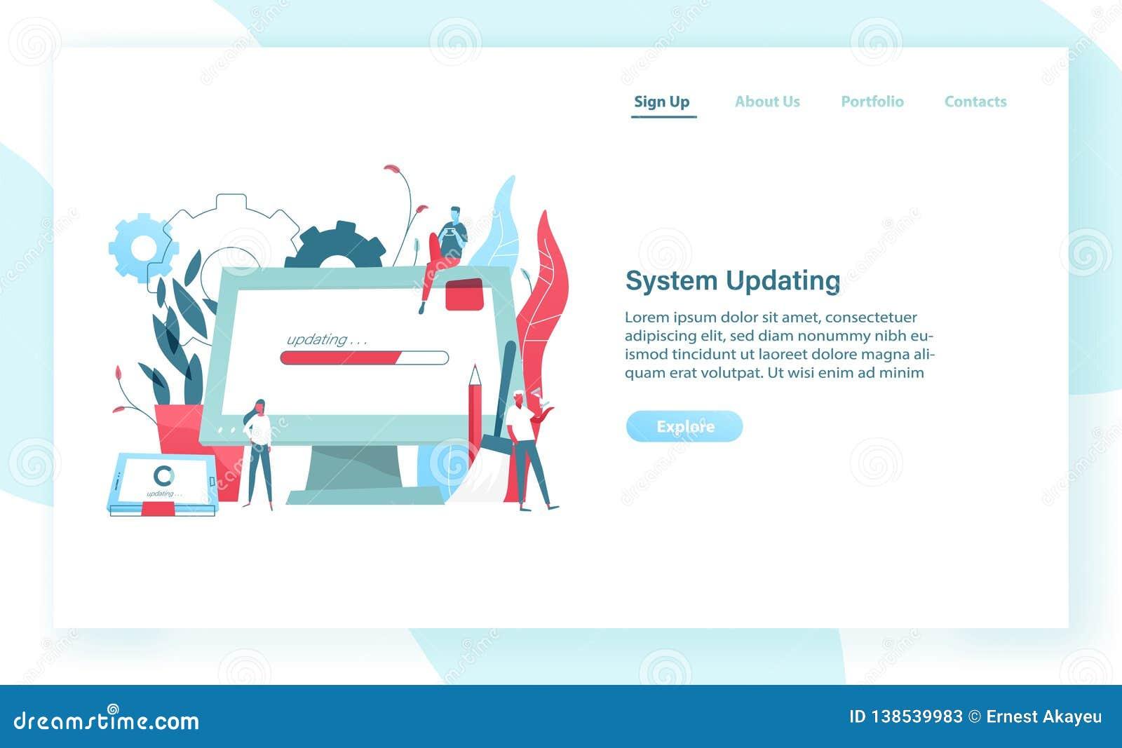 Molde da bandeira da Web com exposição de computador gigante e PC da tabuleta com a barra do progresso na tela e em povos minúscu