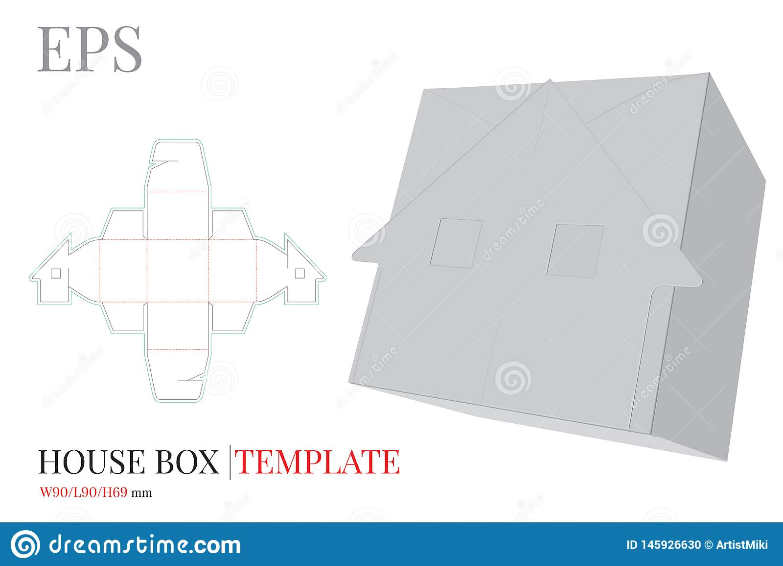 Molde da caixa de presente, vetor com linhas cortado/do laser corte Caixa dos doces da casa Zombaria branca, vazia, clara, isolad