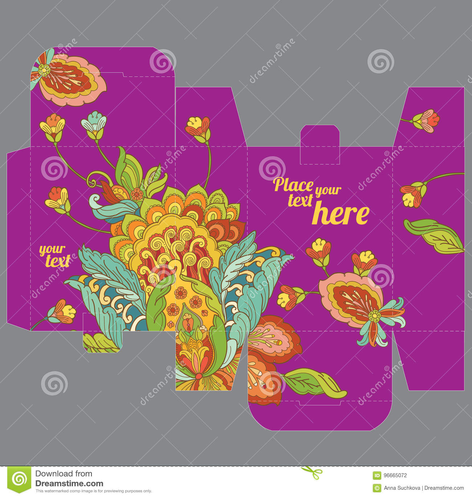 Molde da caixa do favor do casamento do presente com teste padrão de flor oriental