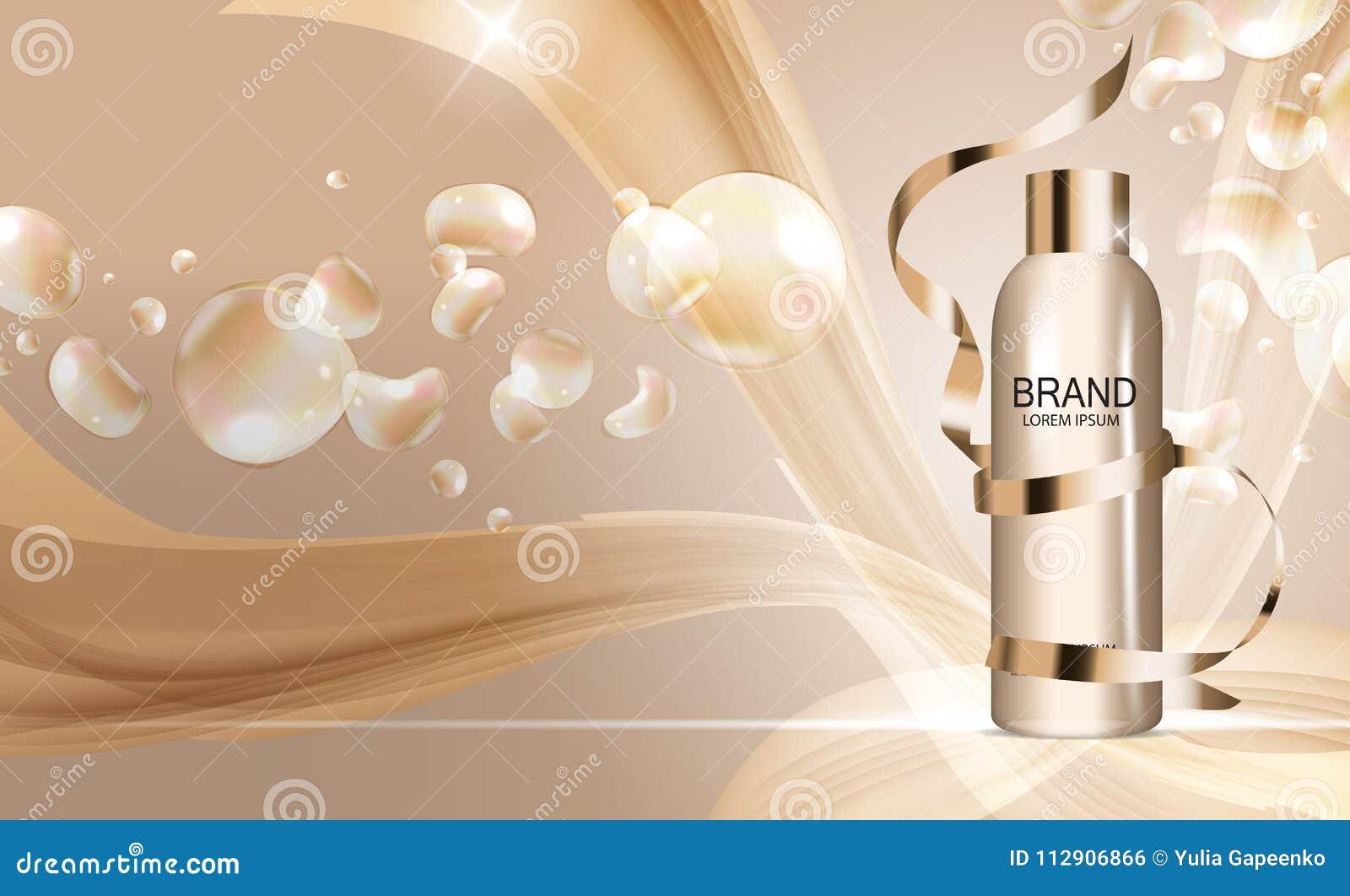 Molde da garrafa do gel do chuveiro para anúncios ou fundo do compartimento 3D vetor realístico Iillustration