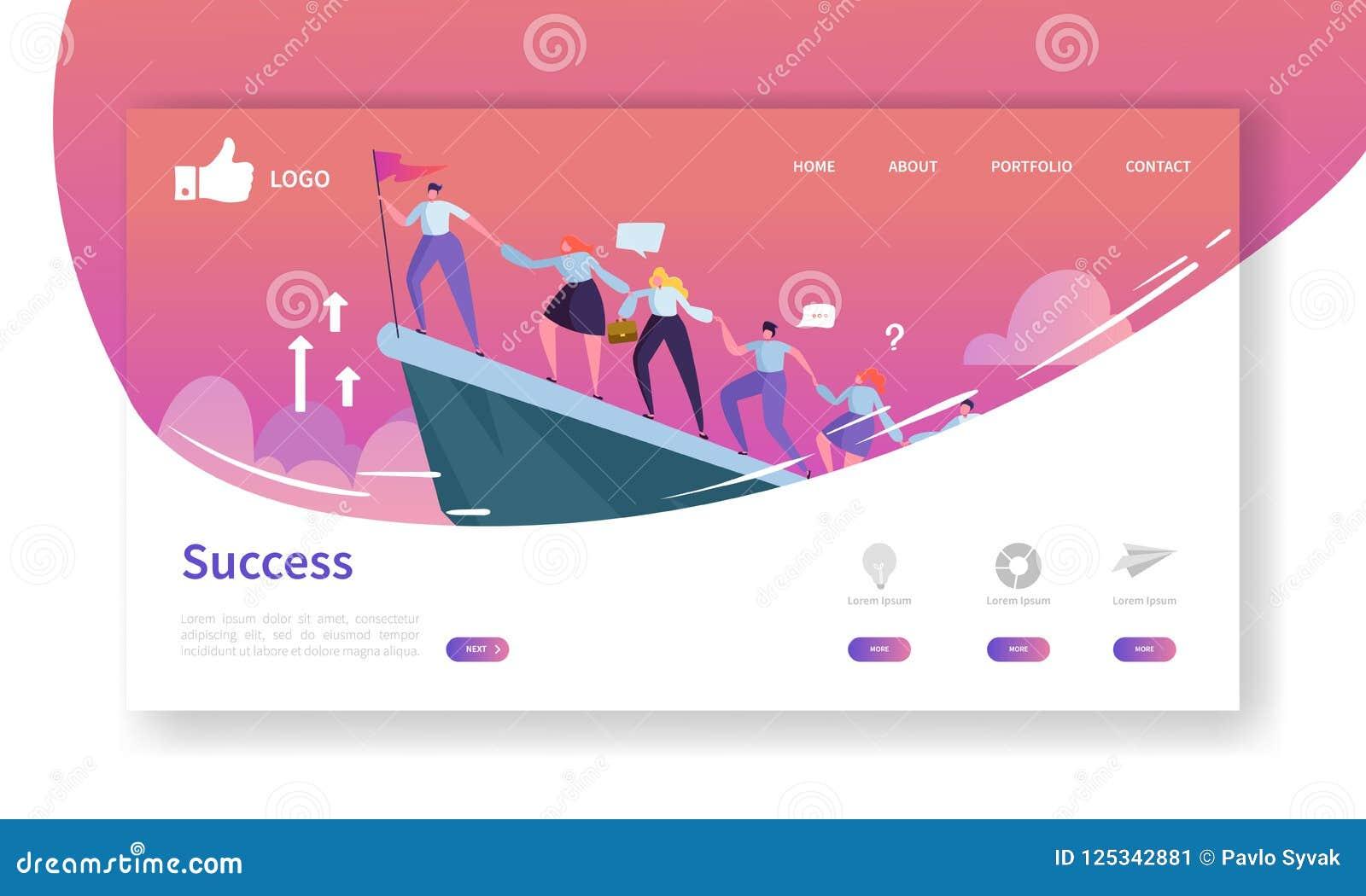 Molde da página da aterrissagem do desenvolvimento do Web site Disposição móvel da aplicação com homem de negócios liso Leader na