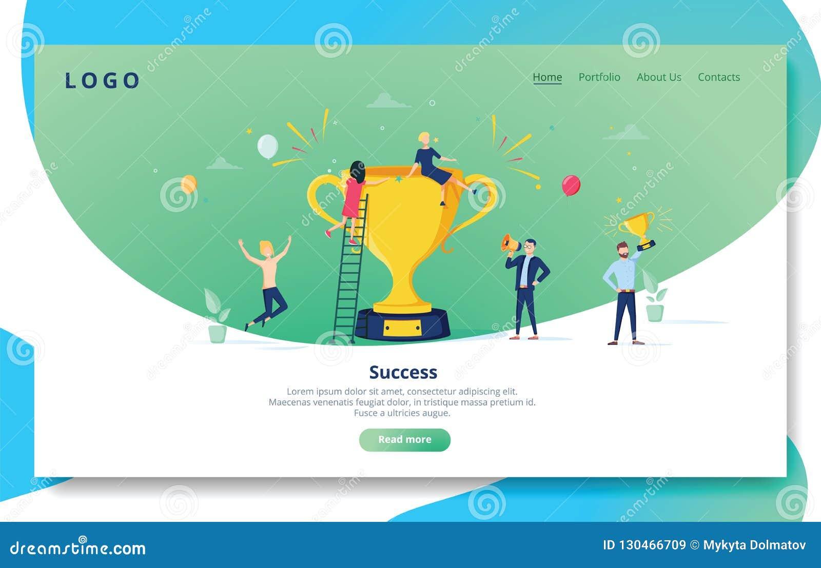 Molde da página da aterrissagem do desenvolvimento do Web site Disposição móvel da aplicação com os povos lisos com prêmio dourad