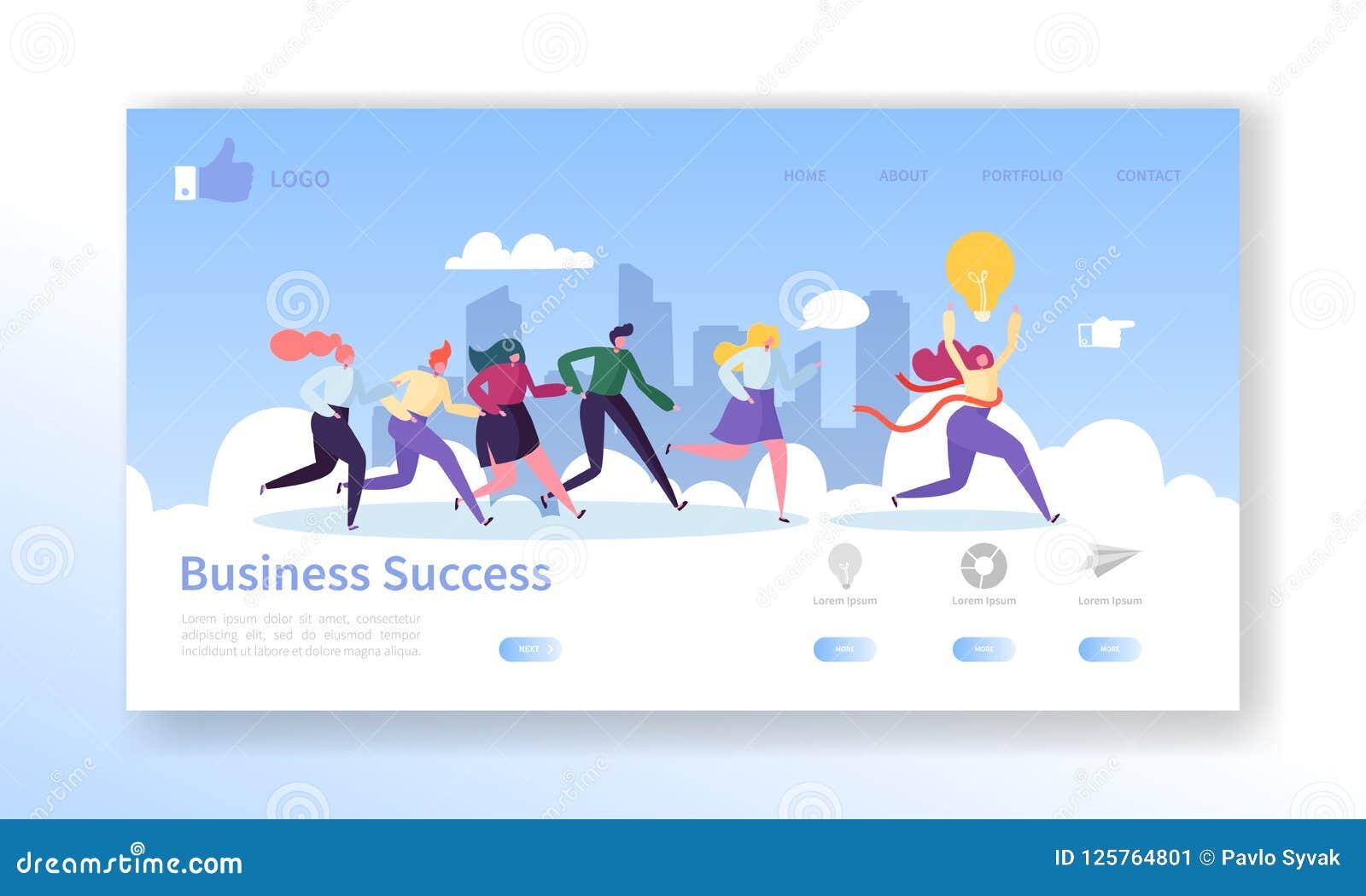 Molde da página da aterrissagem do sucesso comercial Disposição do Web site com os caráteres lisos dos povos que correm ao revest