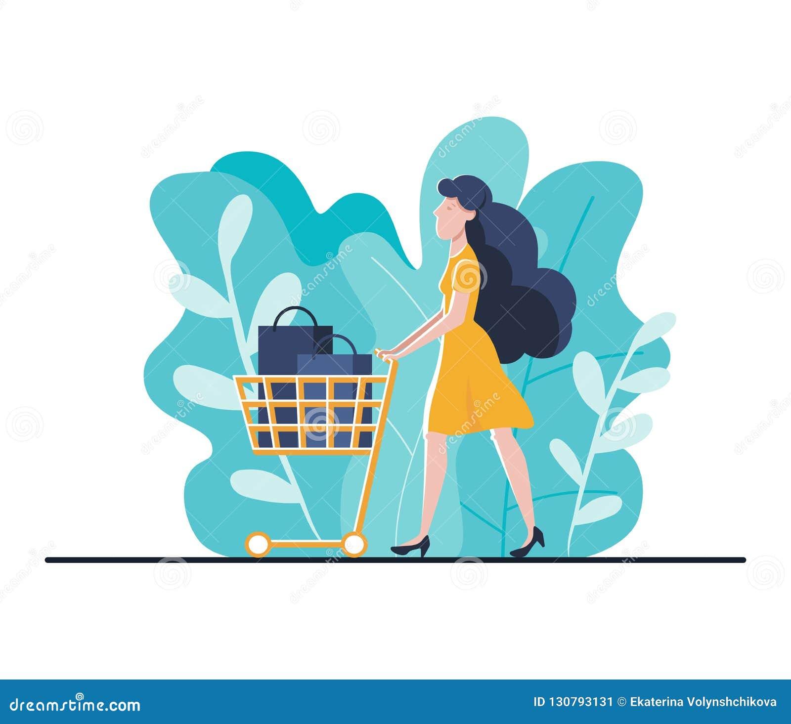 eb359a734 Molde de aterrissagem de compra em linha da página para o Web site ou o  móbil Jovem mulher com compras do trole em linha telefone de utilização em  linha da ...