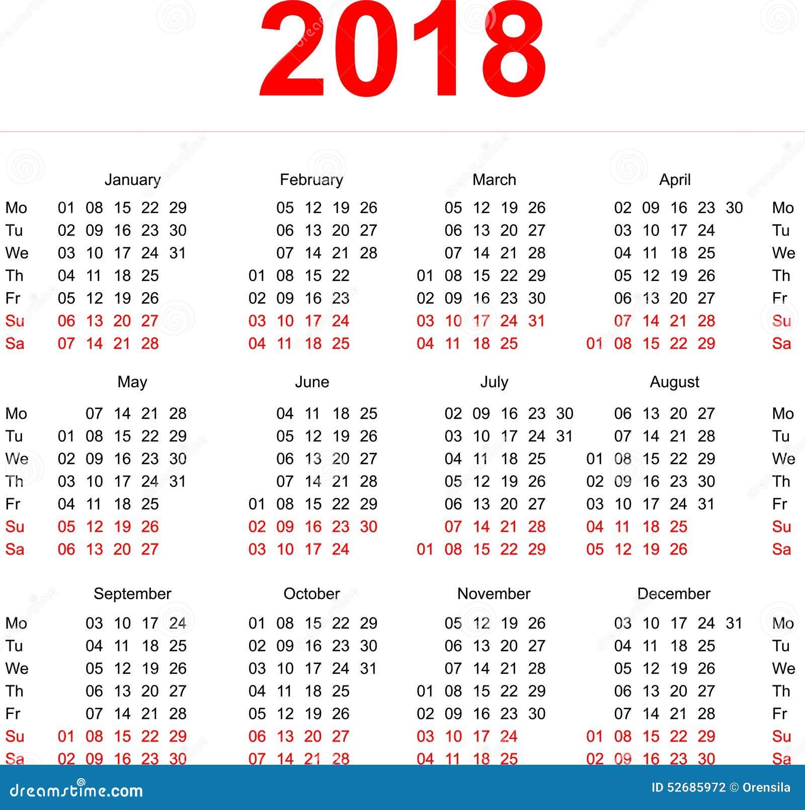 Molde De 2018 Calend 225 Rios Semanas Verticais Primeiro Dia