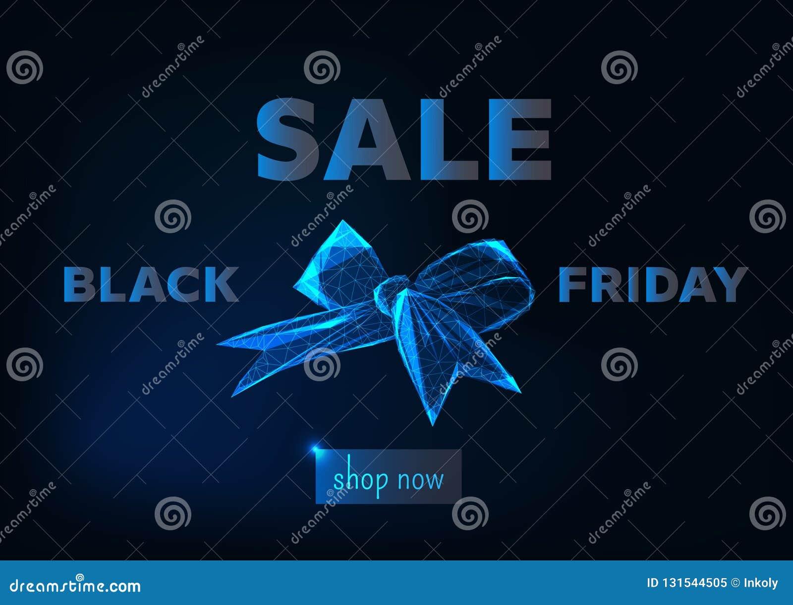 Molde de compra em linha da bandeira da Web da venda preta de sexta-feira com gloeing o baixo símbolo poli da curva da fita, o bo