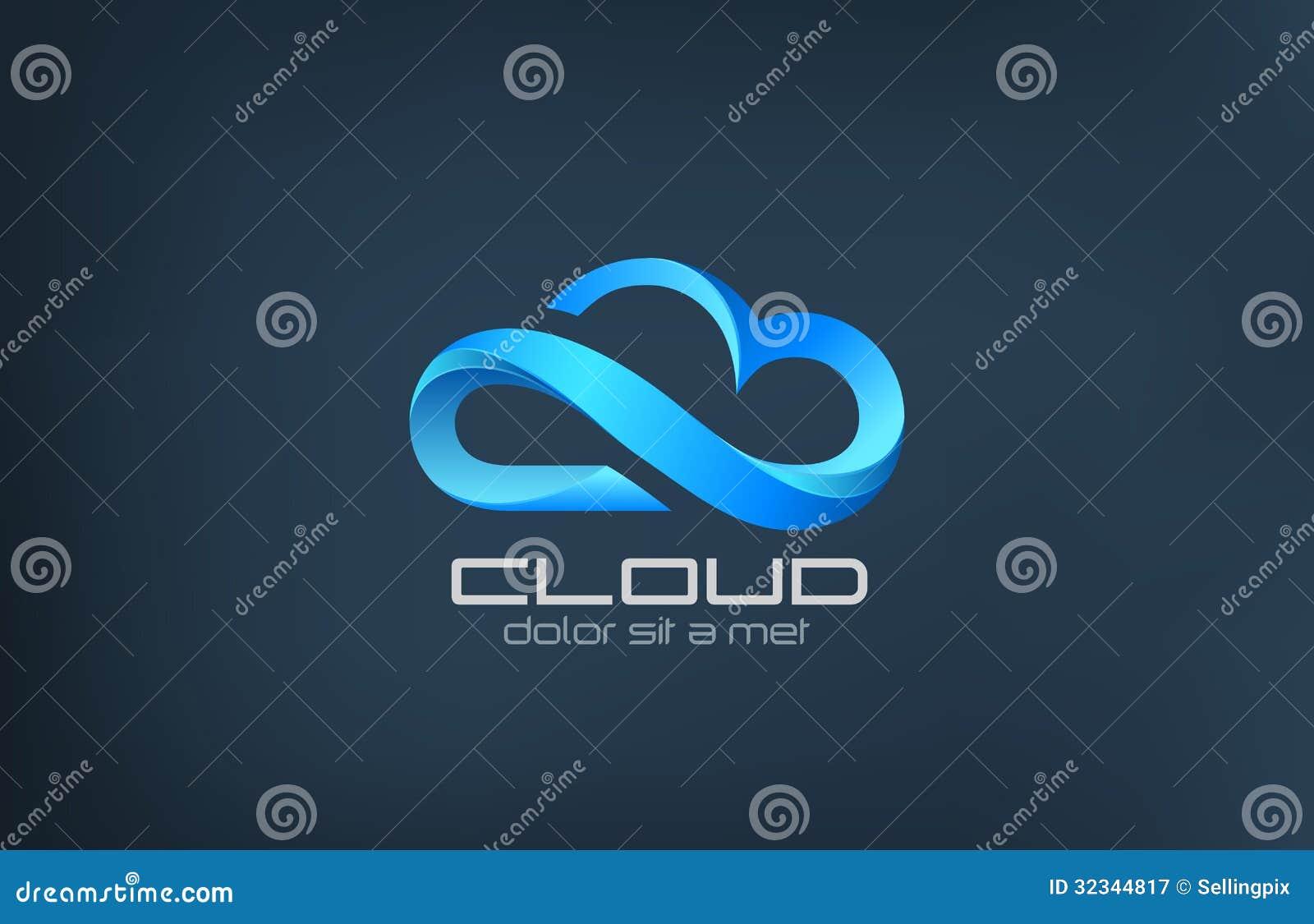 Molde de computação do projeto do logotipo do vetor do ícone da nuvem.
