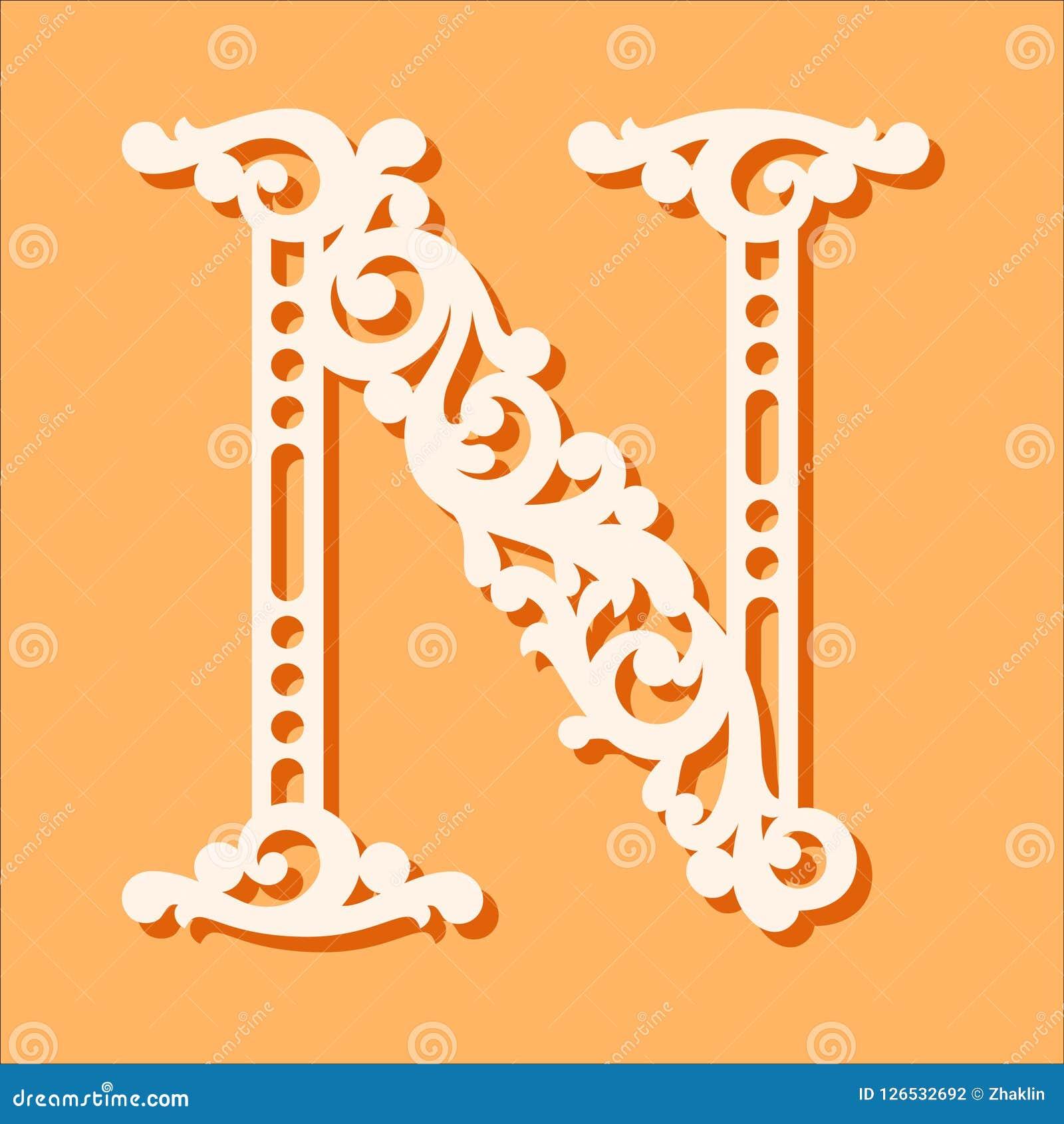 Molde de corte do laser Letras iniciais do monograma Letra floral extravagante do alfabeto