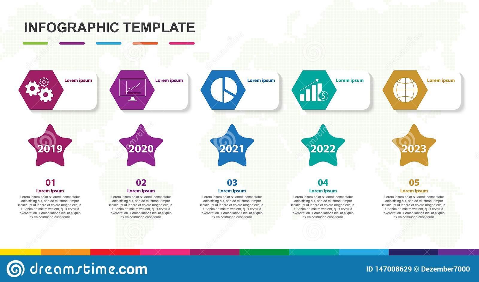 Molde de Infographic para o neg?cio diagrama do espaço temporal de 5 etapas