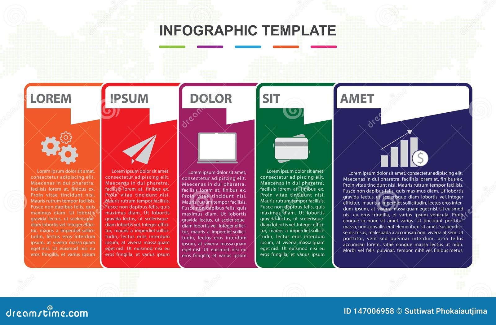 Molde de Infographic para o neg?cio 6 etapas fixam o diagrama do espaço temporal do mapa
