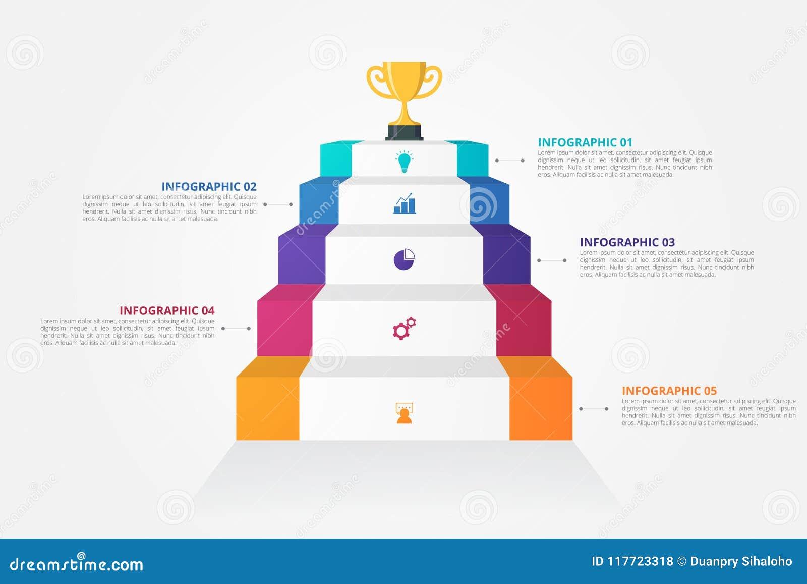 Molde de Infographics das escadas 3D para o negócio, educação, design web, bandeiras, folhetos, insetos
