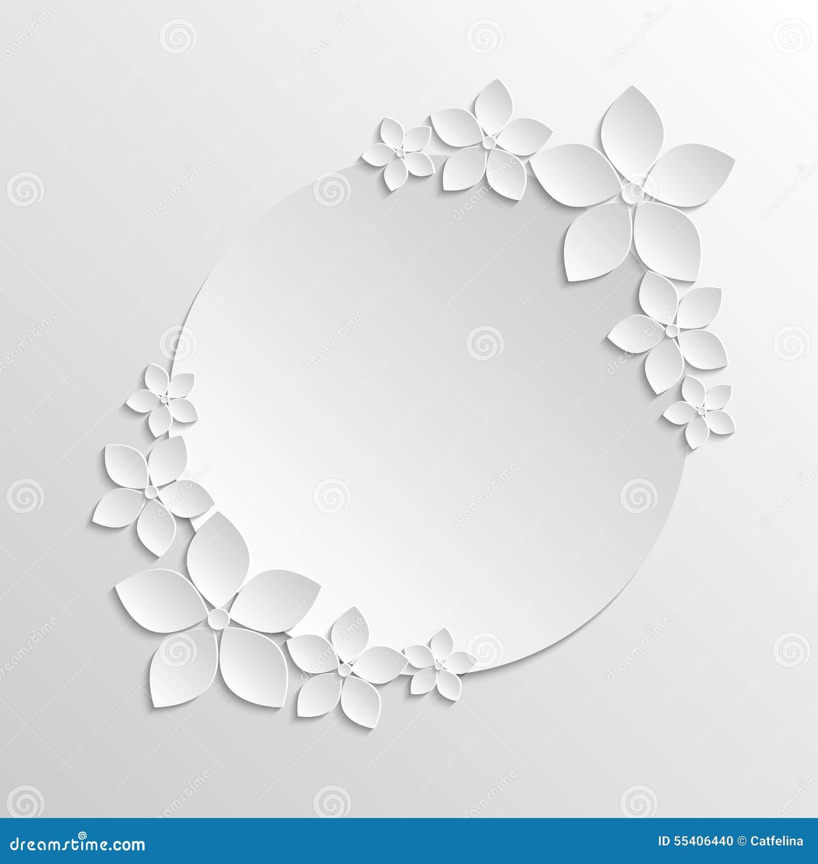 Molde De Papel Do Crachá Com As Flores Brancas De Papel No