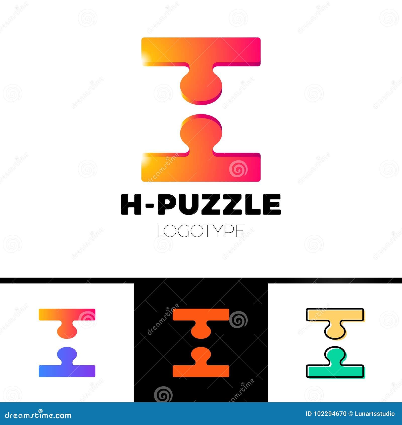 ab6254e81 Molde do ícone do logotipo da letra de 3d H no espaço negativo em de duas  partes do enigma Tecnologia simples