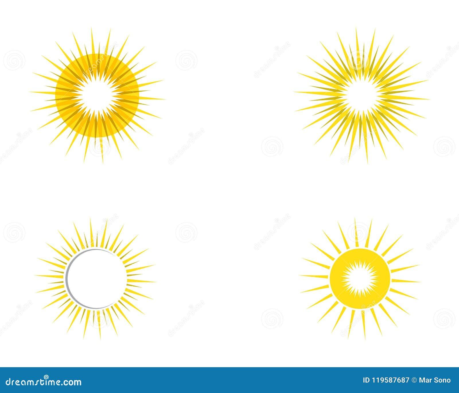 Molde do ícone do vetor do logotipo do ilustration do sol