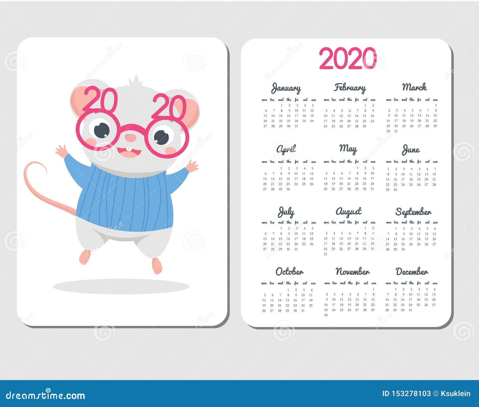 Molde 2020 Do Calendario Com Rato Dos Desenhos Animados Projeto