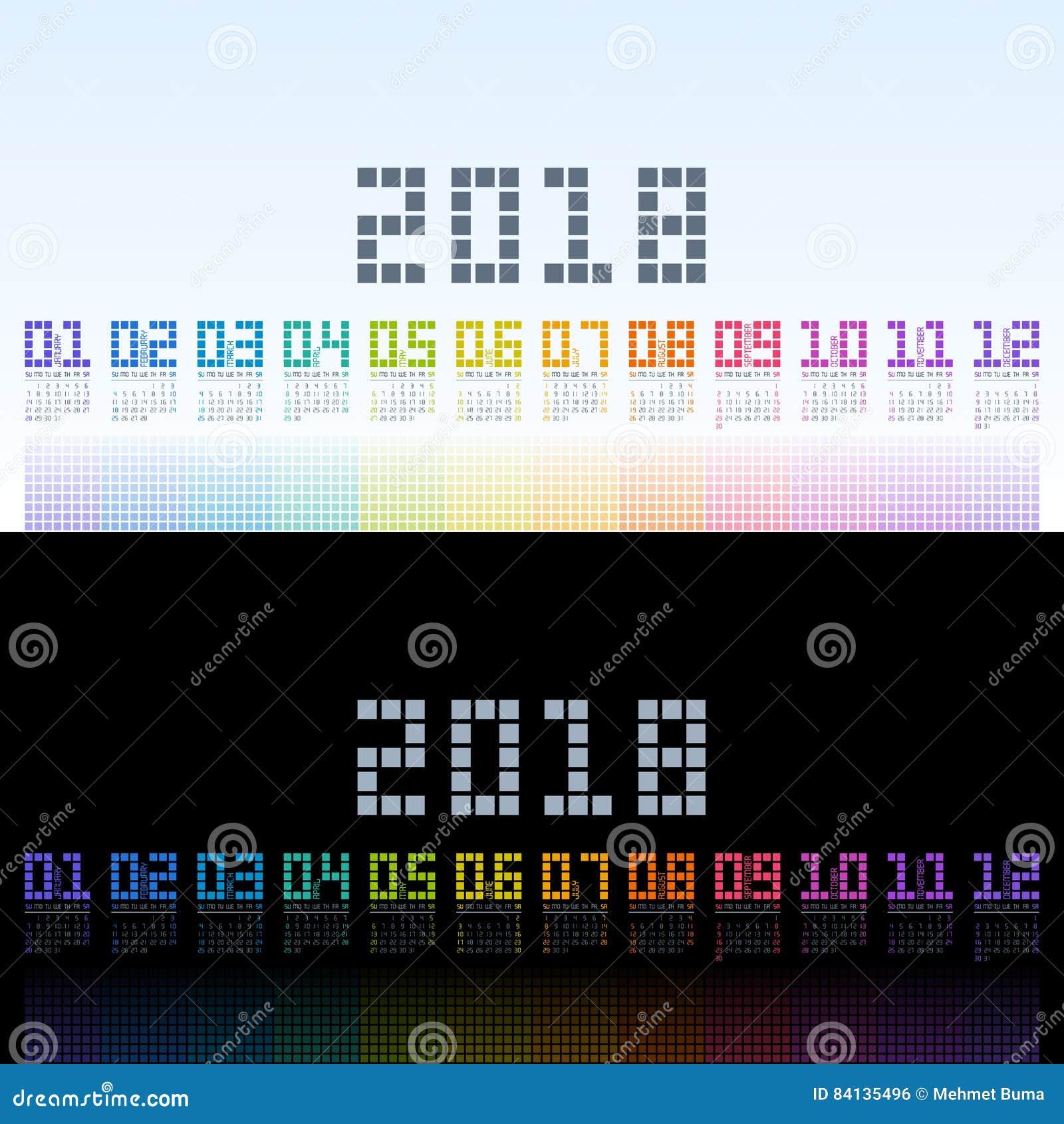 Molde 2018 do calendário com texto digital do arco-íris Vetor eps10