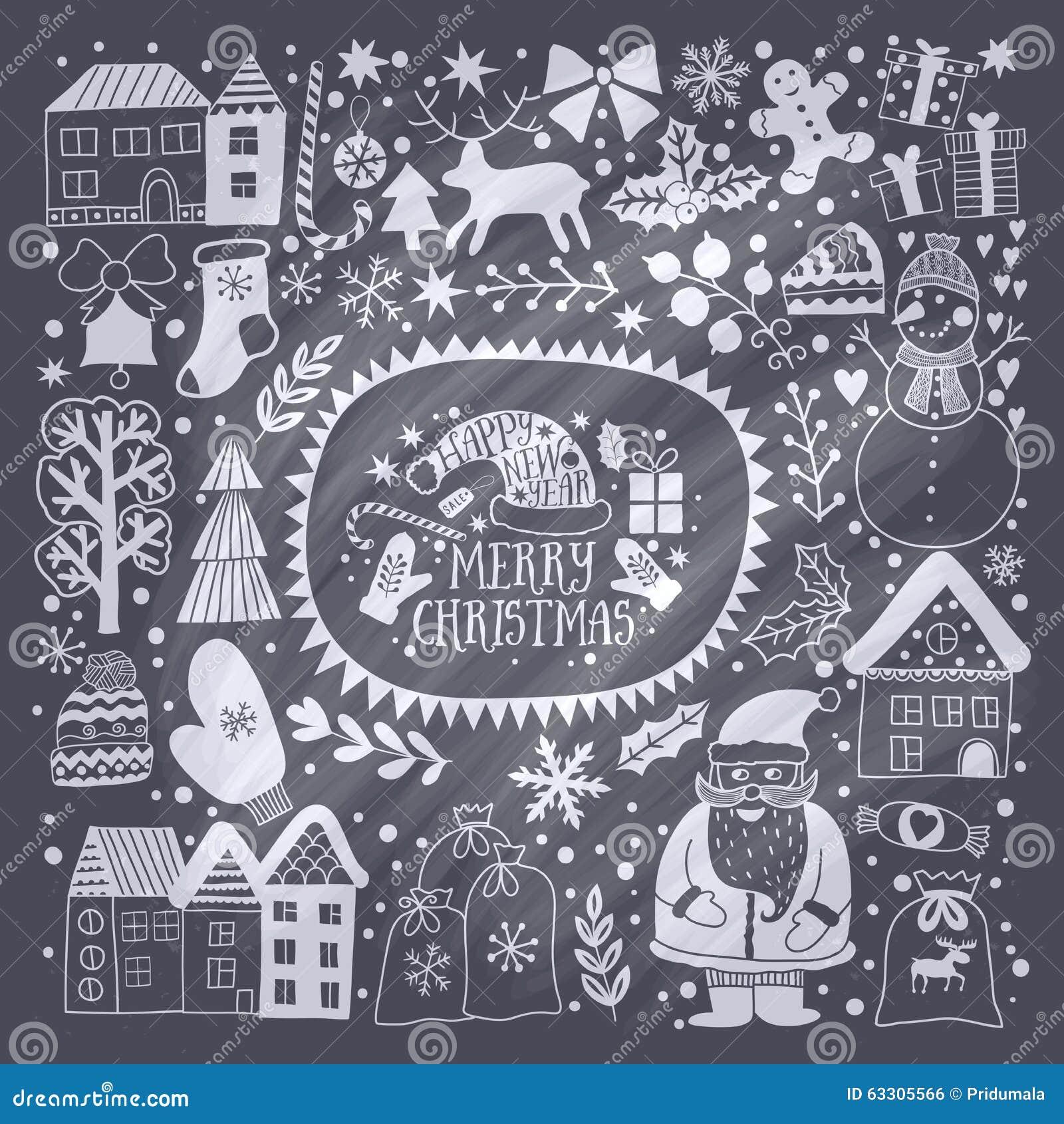 Molde do cartão do Natal, Feliz Natal do vetor Projeto do feriado de inverno, projeto da grinalda do quadro feito de garatujas cr