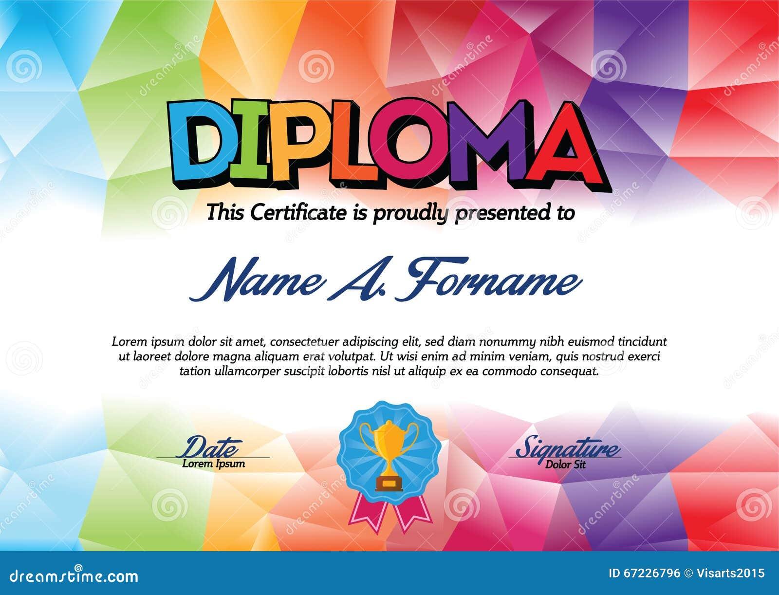 Molde do certificado do diploma com quadro colorido para crianças