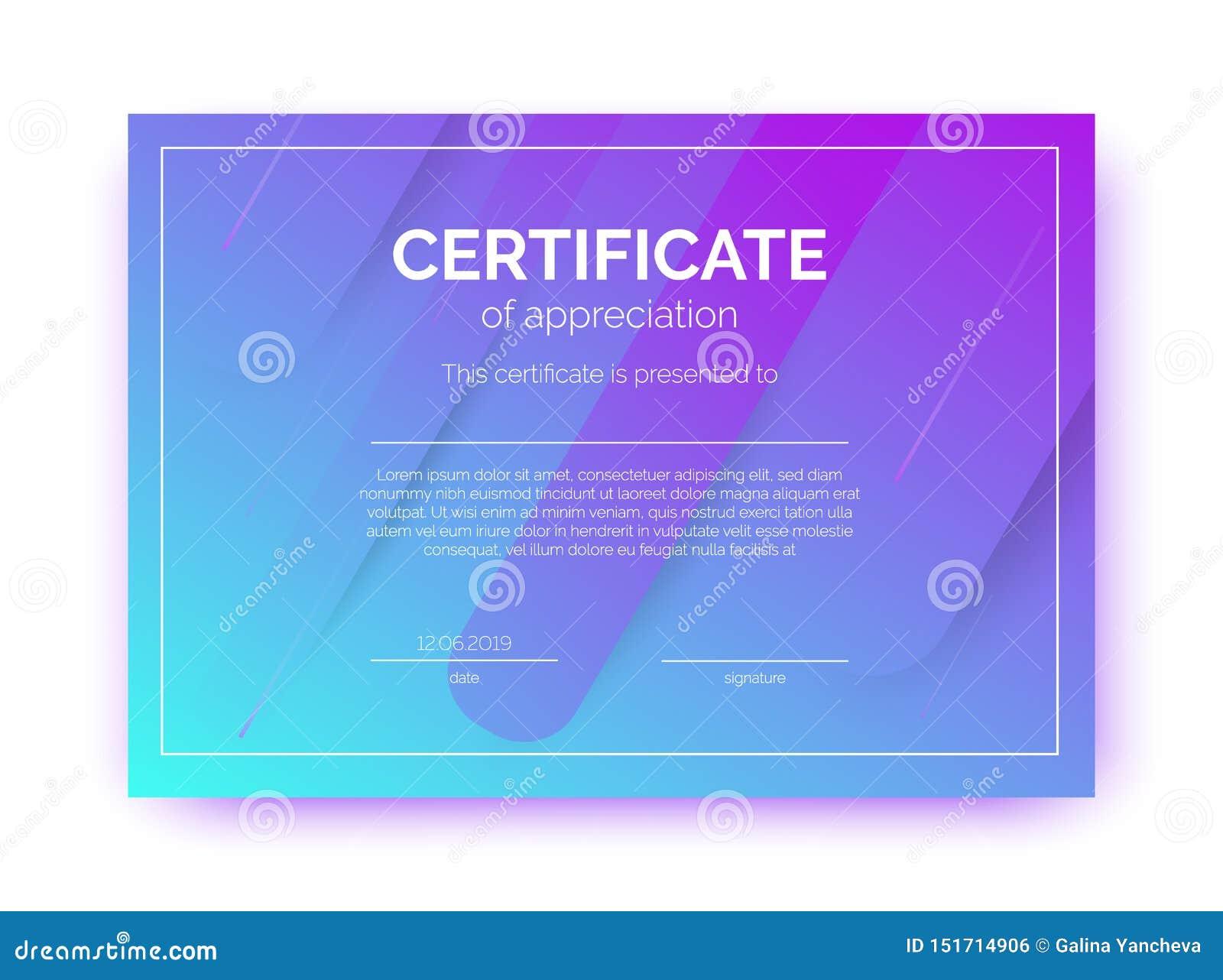 Molde do certificado para o negócio, cursos, competição no estilo abstrato do minimalismo