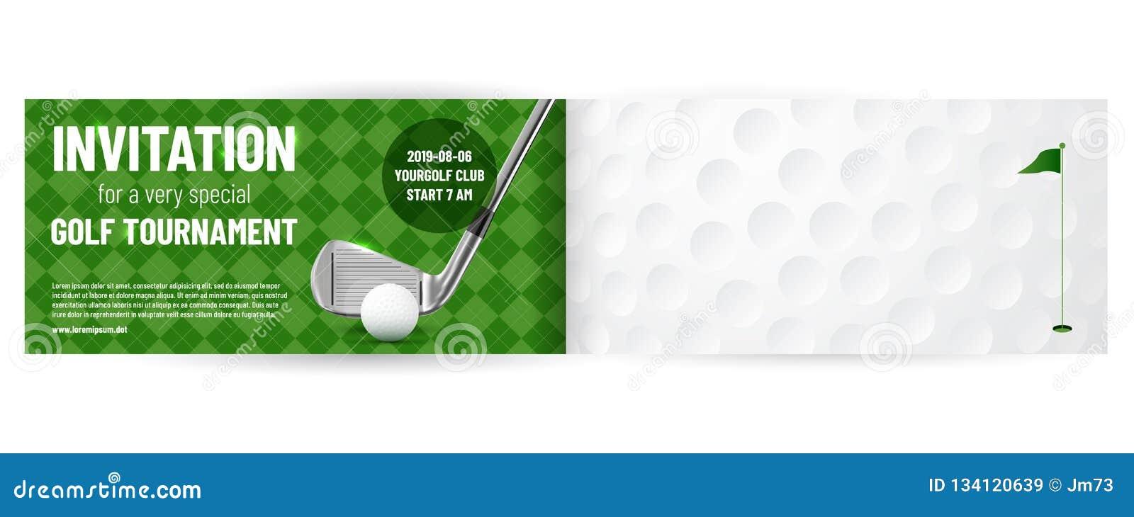 Molde do convite do competiam do golfe