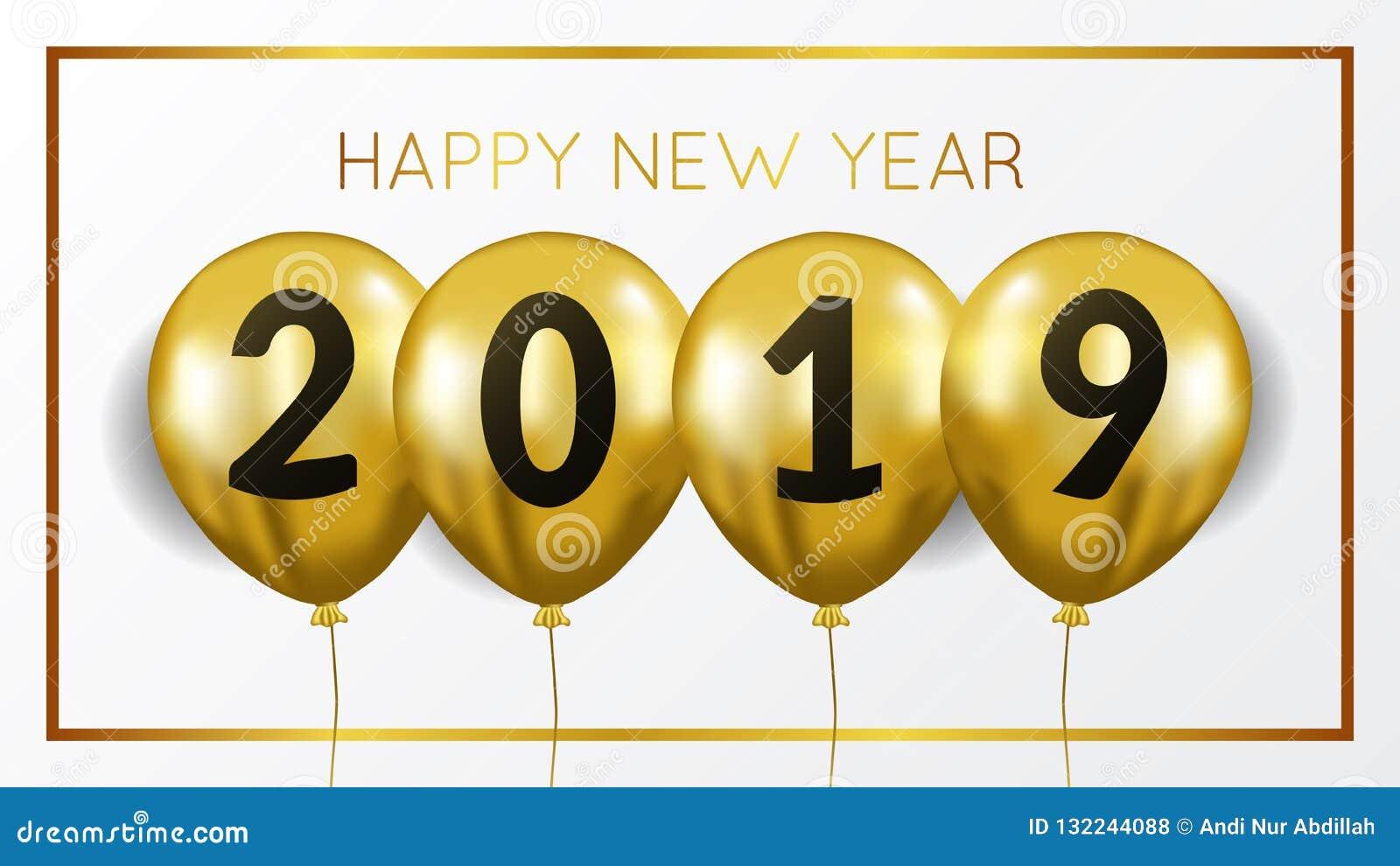 Molde do fundo da bandeira do ano novo feliz com hélio de voo do balão do ouro Ilustração do vetor