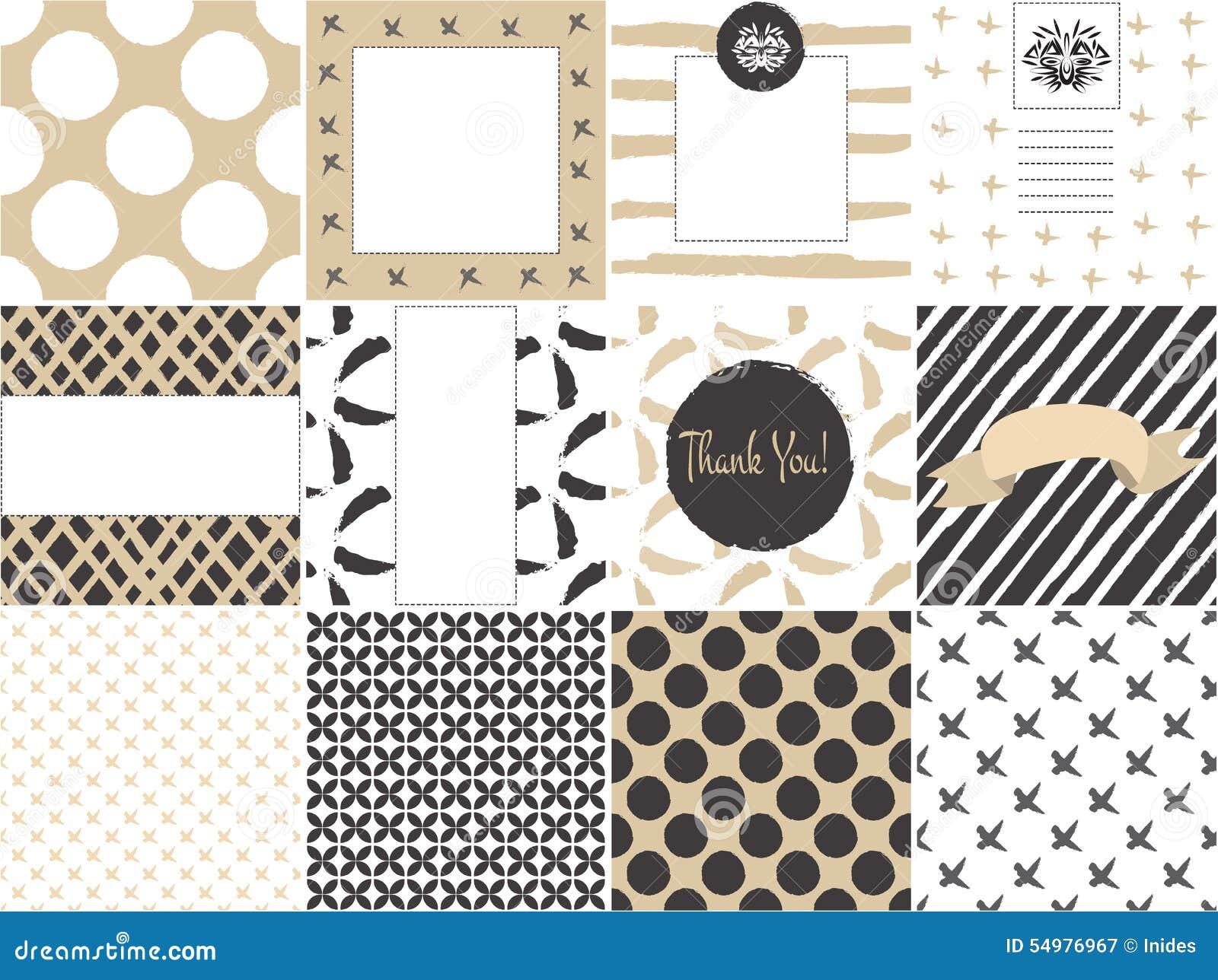 Molde do grupo de cartão com testes padrões sem emenda no ouro