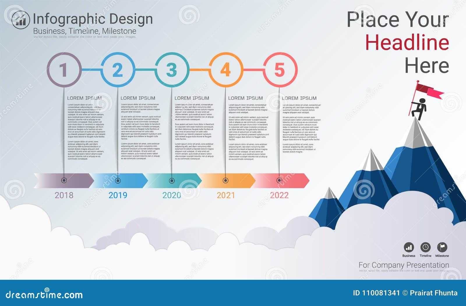 Molde do infographics do negócio, espaço temporal do marco miliário ou mapa de estradas com opções do fluxograma de processo 5