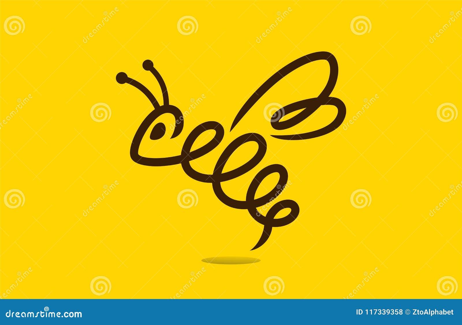 Molde do logotipo do conceito da abelha do mel