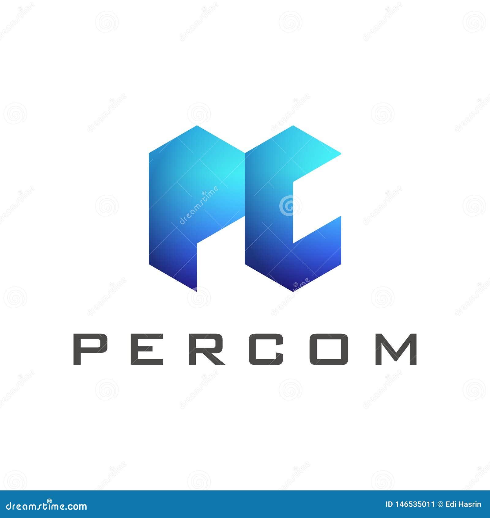 Molde do logotipo da letra do PC com inclinação azul da cor