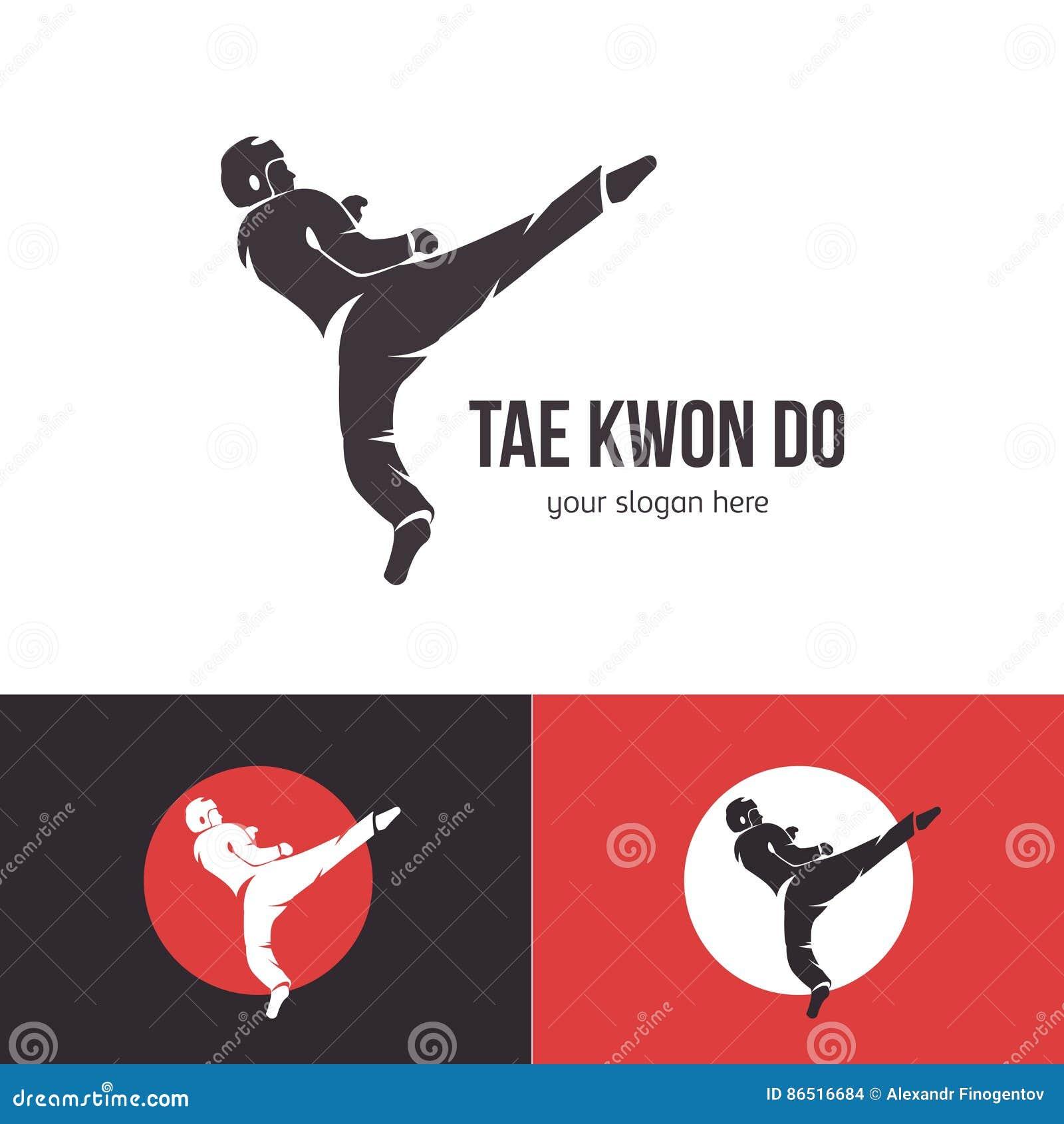 Molde do logotipo de taekwondo do vetor Crachá das artes marciais Simbolize para eventos de esportes, competições, competiam Silh