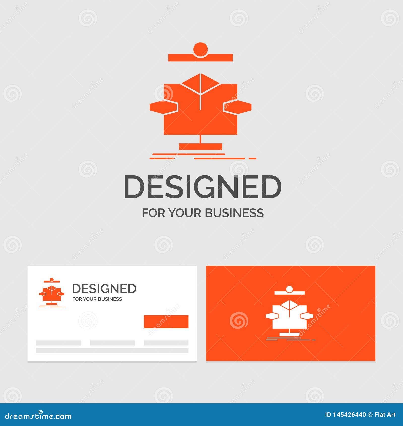 Molde do logotipo do negócio para o algoritmo, carta, dados, diagrama, fluxo Cart?es de visita alaranjados com molde do logotipo