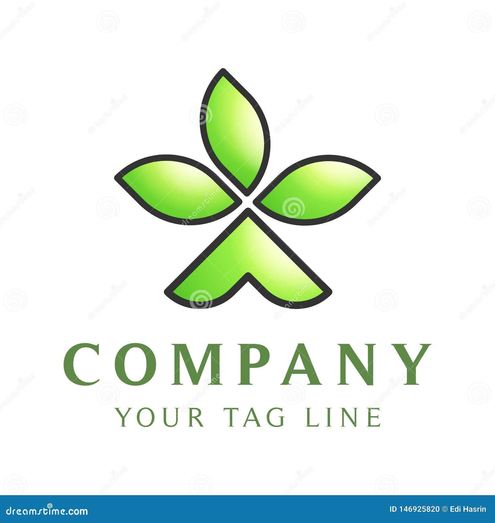 Molde do logotipo sob a forma da barraca da barraca com as três folhas nela