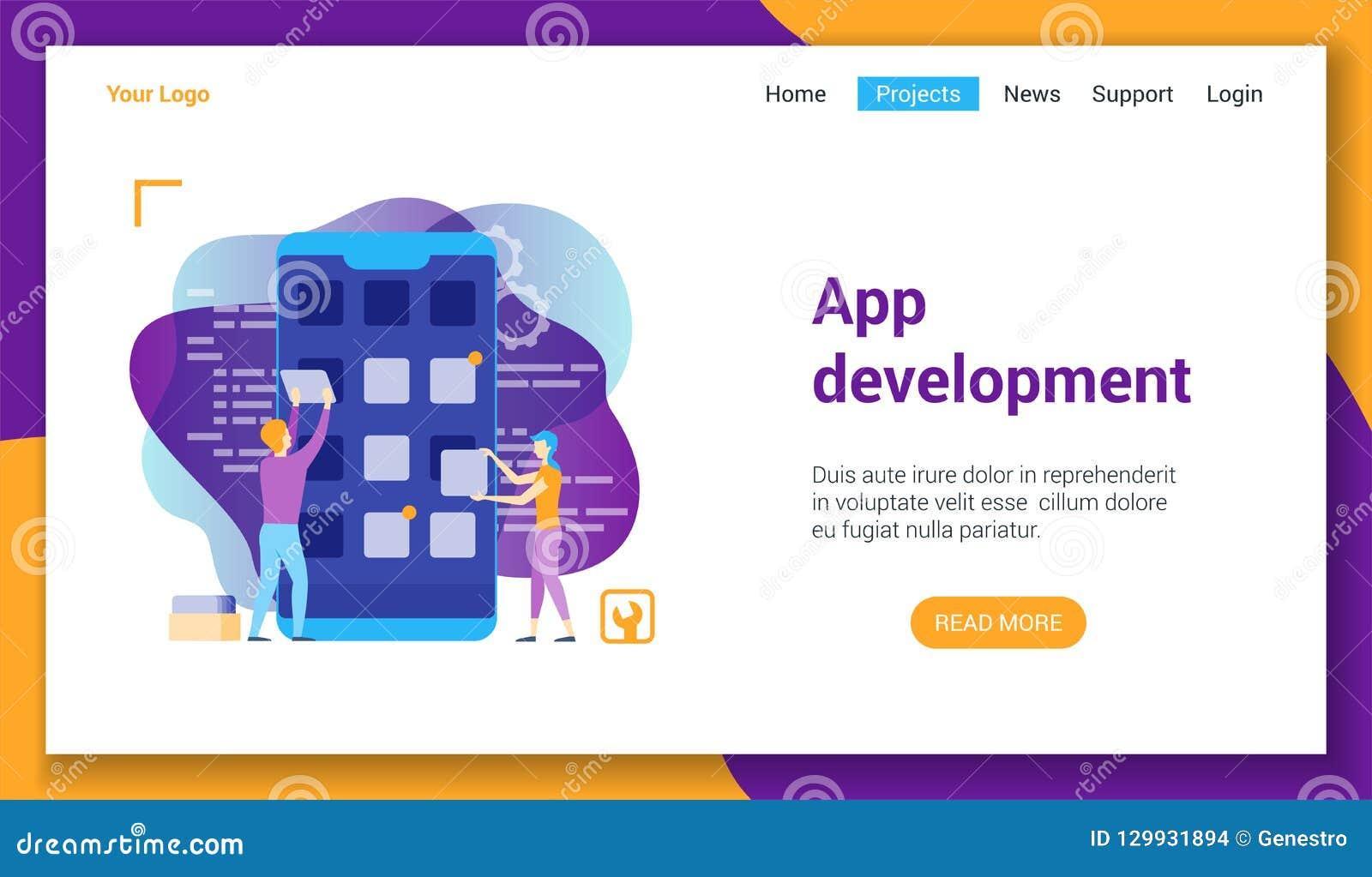 Molde do lp do desenvolvimento do App