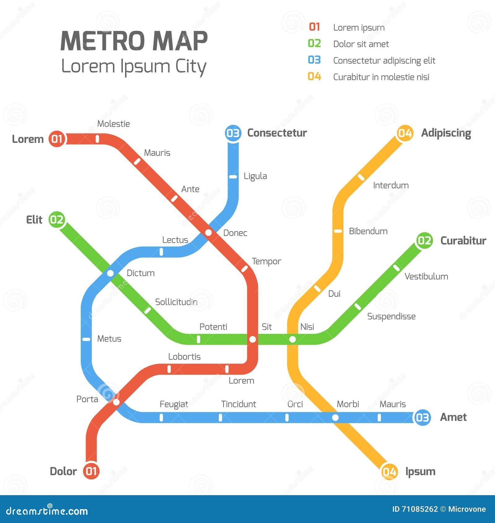Molde do mapa do vetor do metro Esquema do transporte do metro da cidade