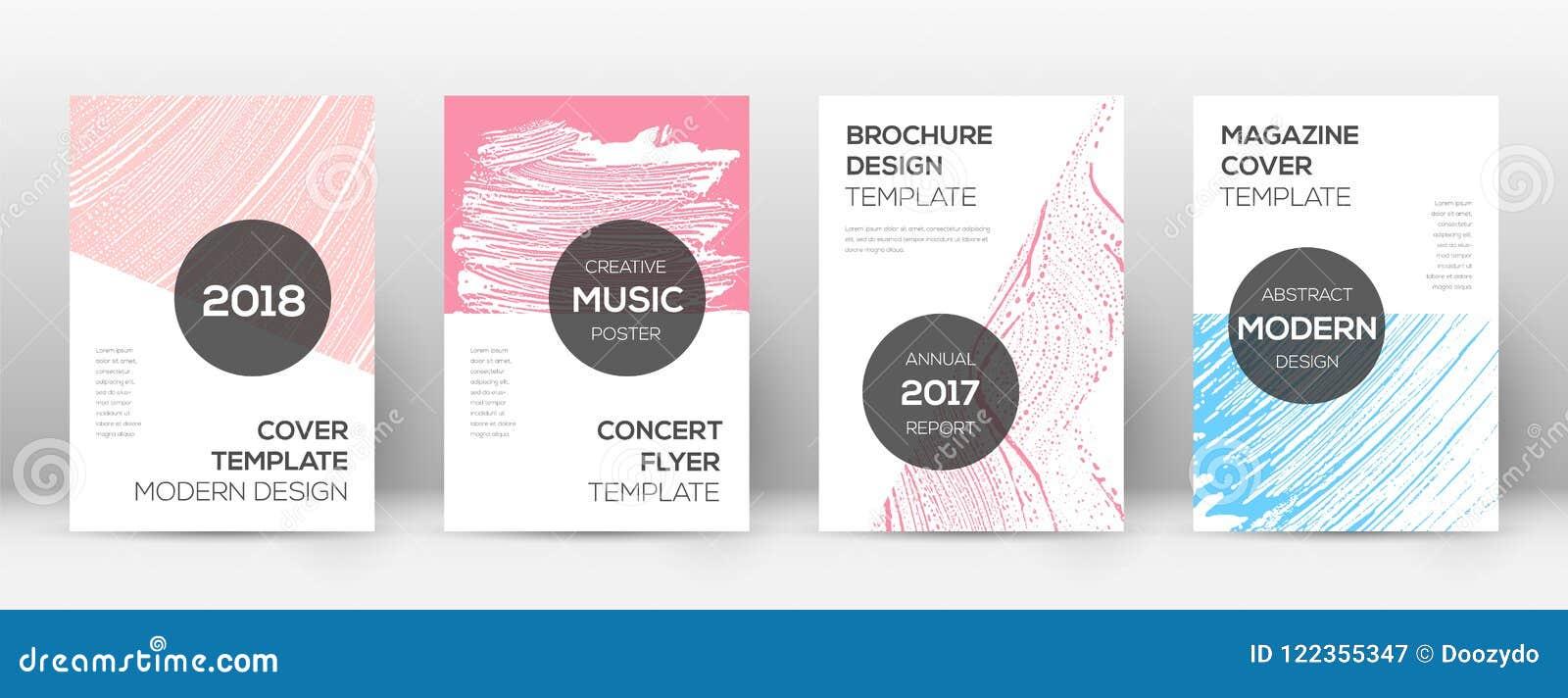 Molde do projeto da capa Disposição moderna do folheto Capa abstrata na moda Comely Cor-de-rosa e azul